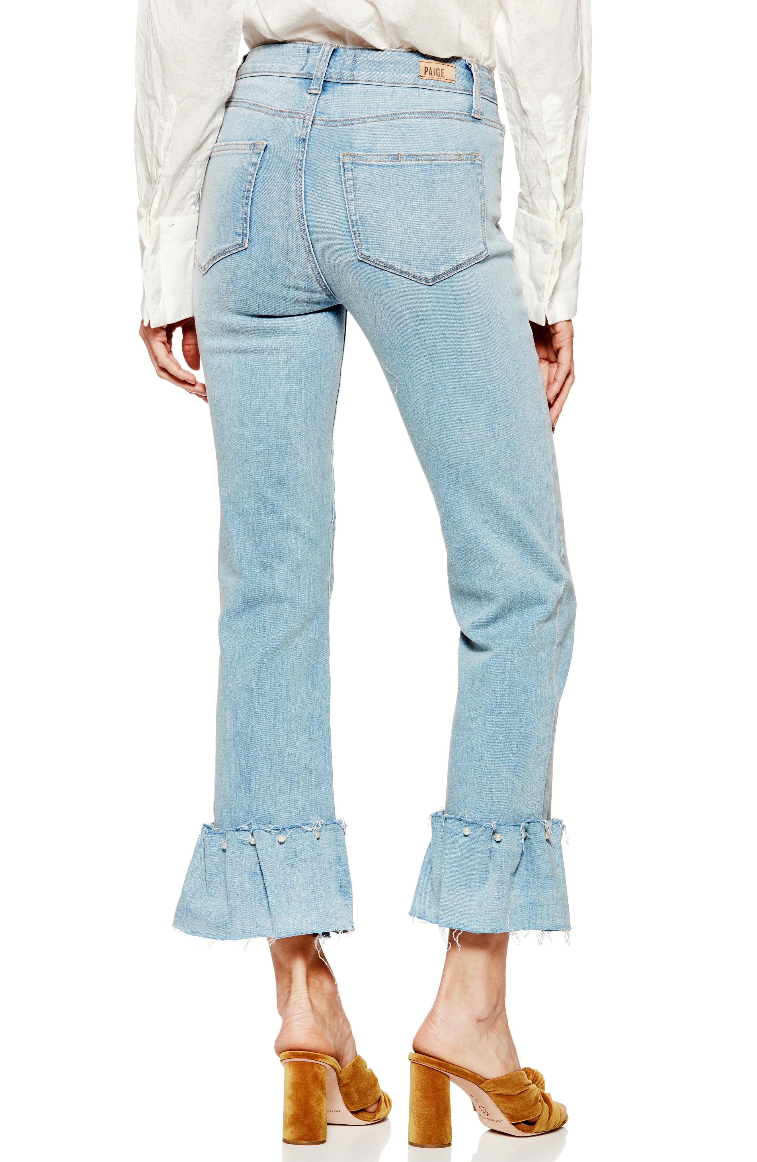 Transcend Vintage - Hoxton Embellished Ruffle High Waist Jeans,                             Alternate thumbnail 2, color,                             Palms