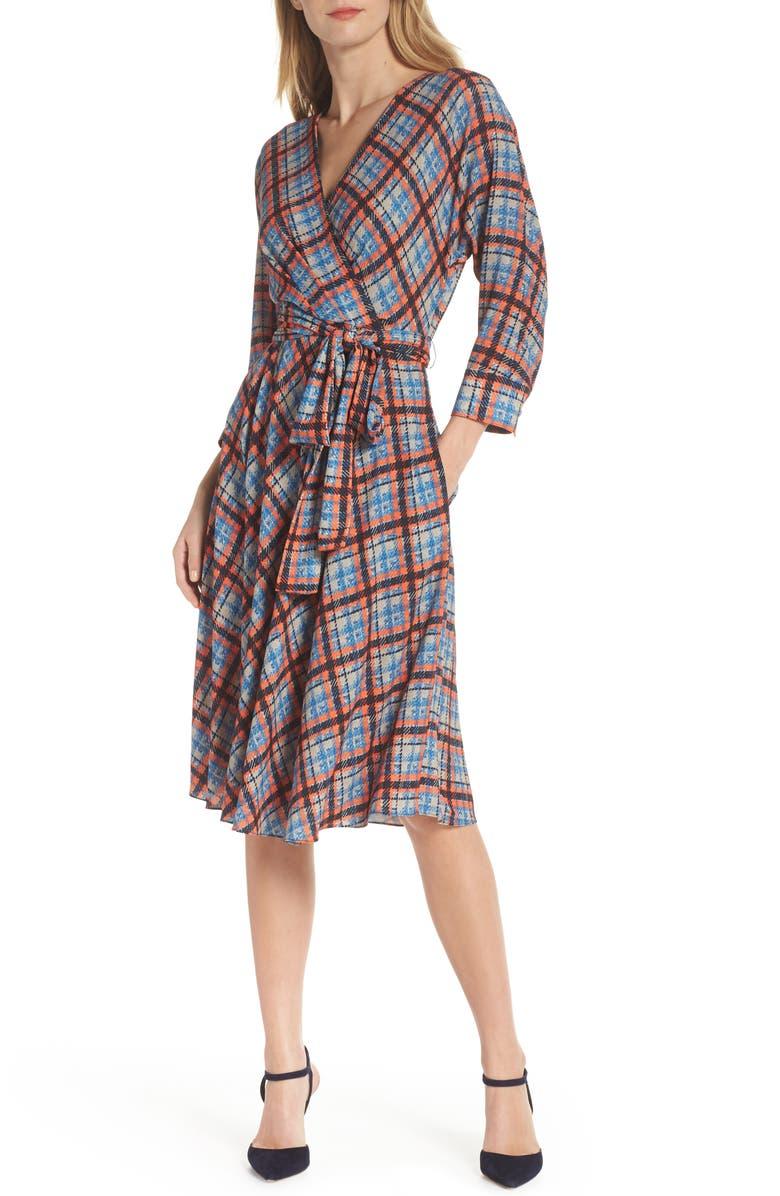 Plaid Faux Wrap Dress,                         Main,                         color, Navy/ Orange