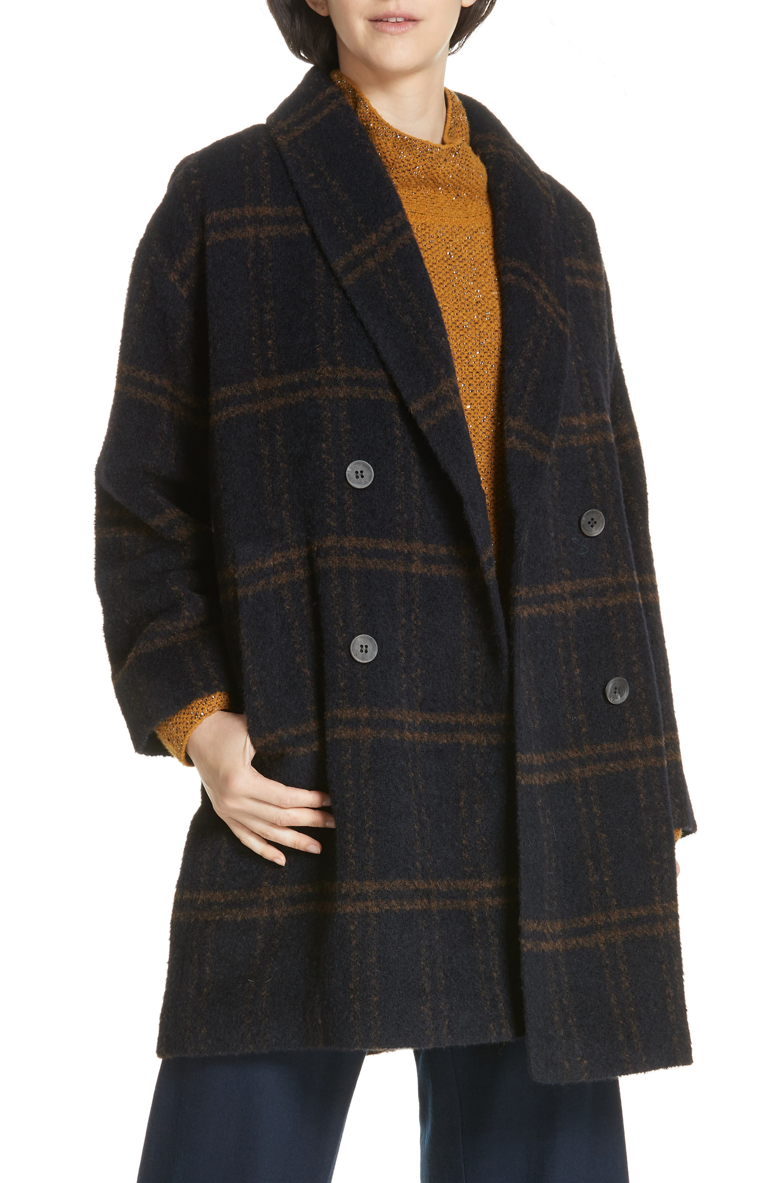 Double Breasted Plaid Alpaca Blend Coat,                             Main thumbnail 1, color,                             Midnight