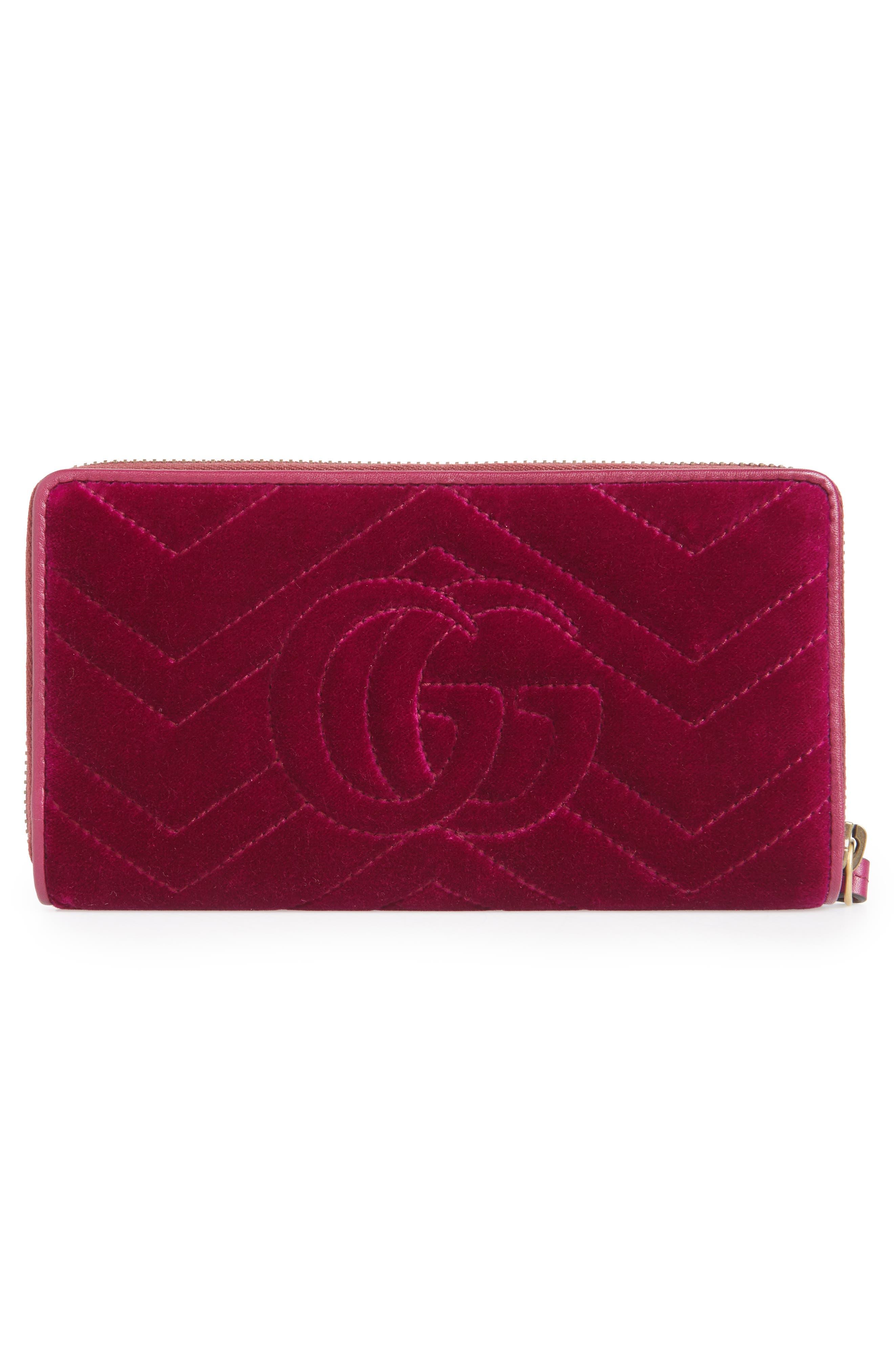 GG Marmont 2.0 Matelassé Velvet Wallet on a Chain,                             Alternate thumbnail 4, color,                             Fucsia/ Viola