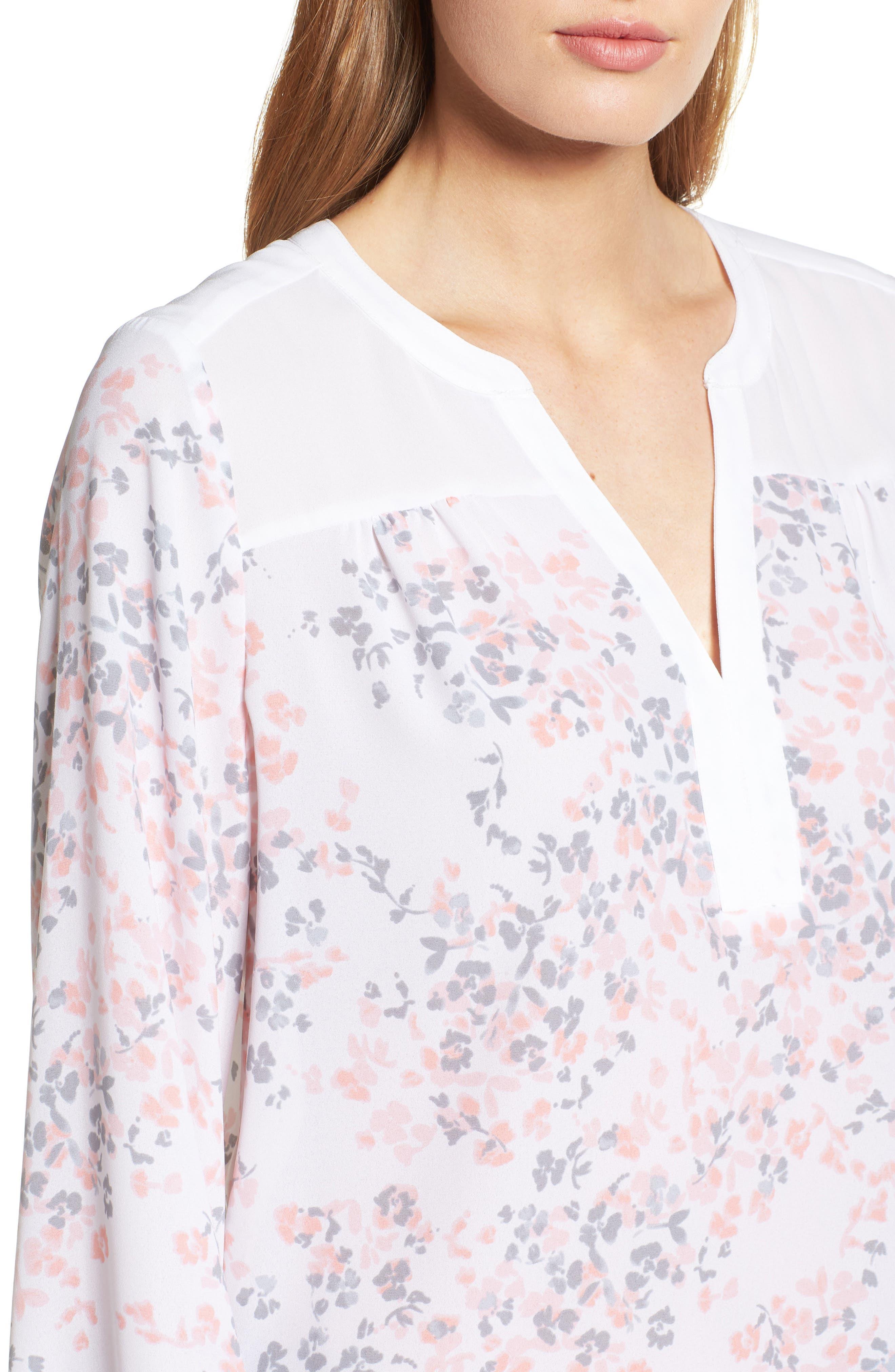 Split Collar Peasant Top,                             Alternate thumbnail 4, color,                             Delicate Fleur Optic White