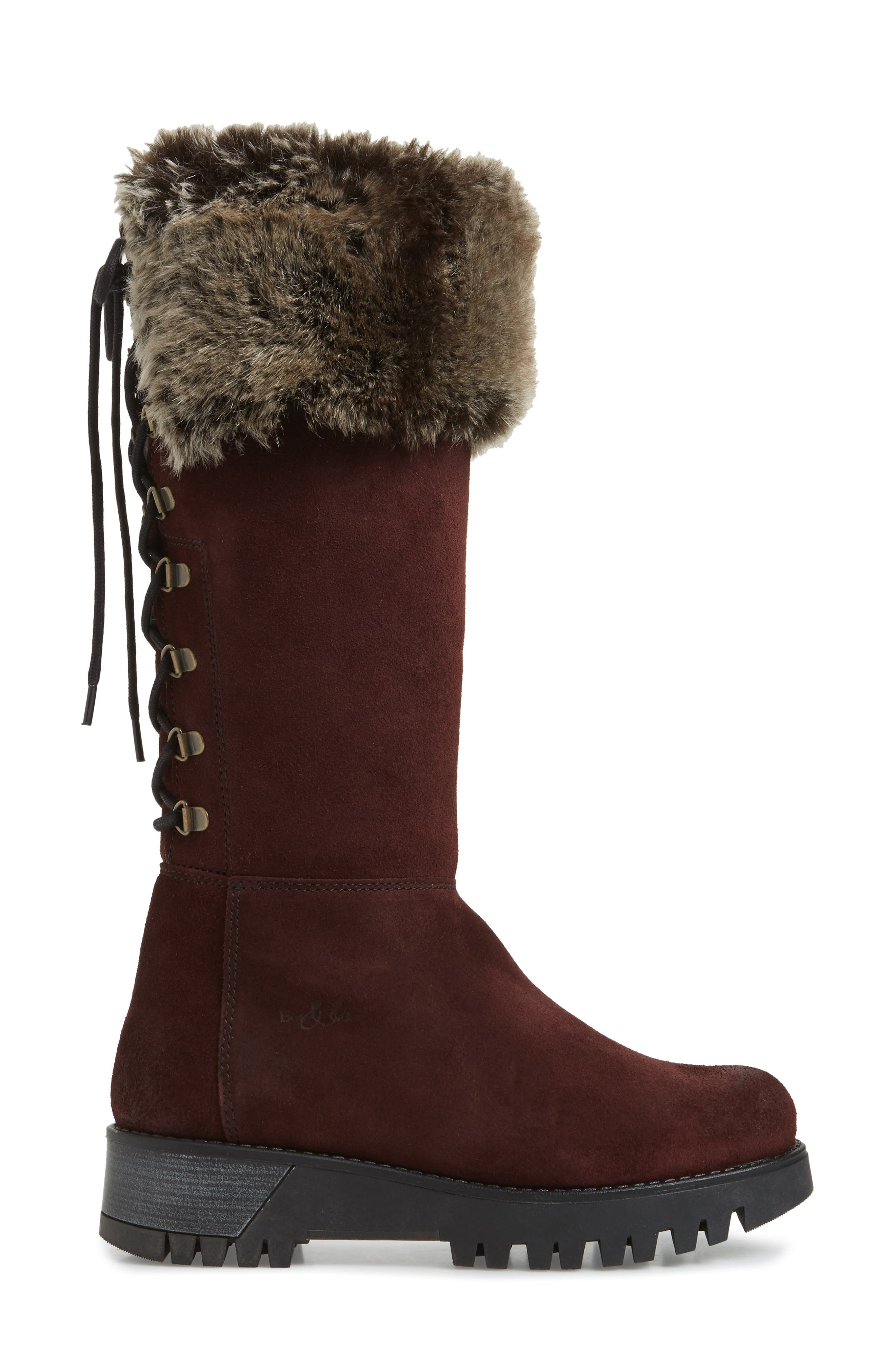 Graham Waterproof Winter Boot with Faux Fur Cuff,                             Alternate thumbnail 4, color,                             Wine Suede