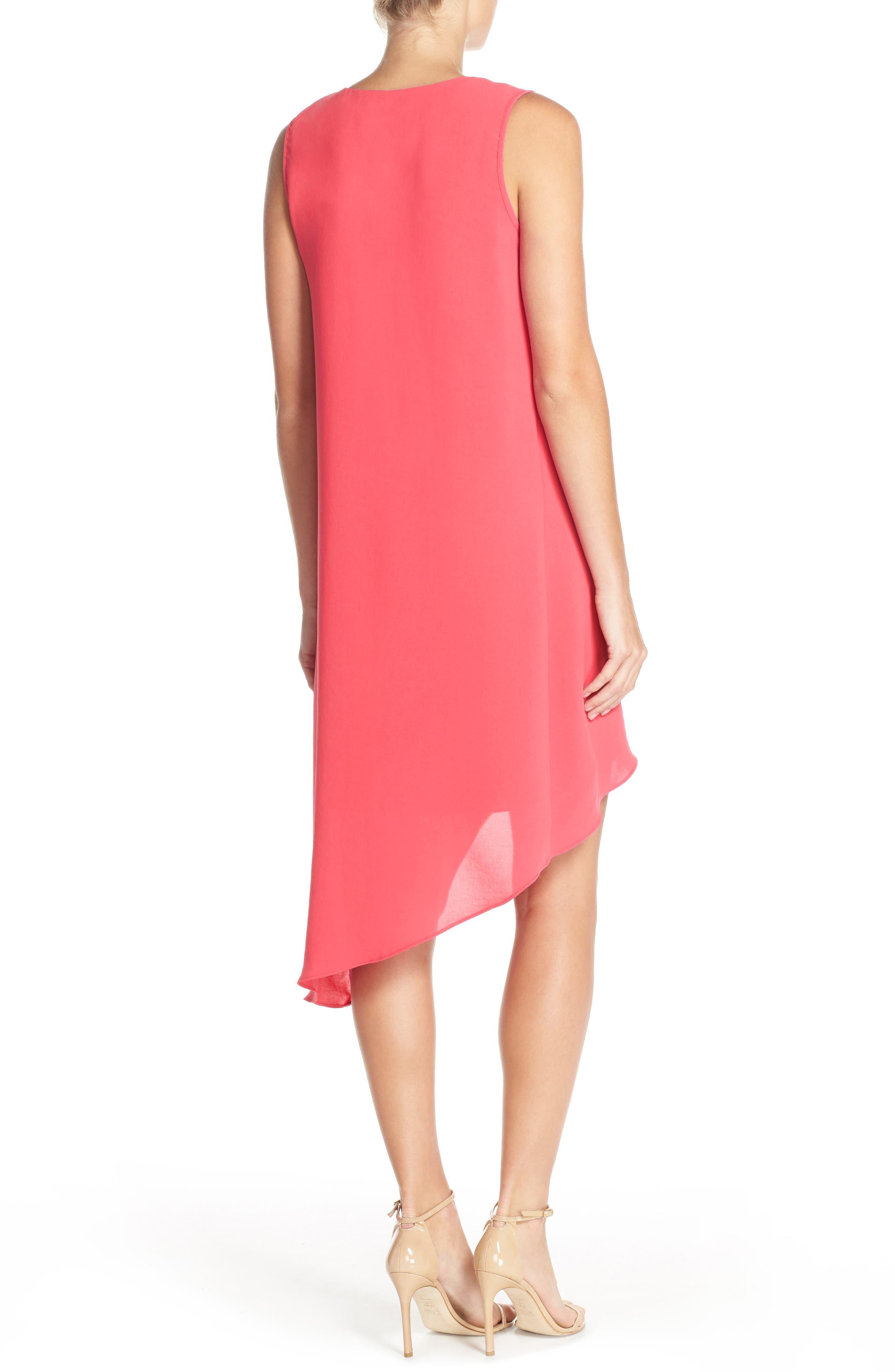 Ruffle Front Crepe High/Low Dress,                             Alternate thumbnail 2, color,                             Grapefruit