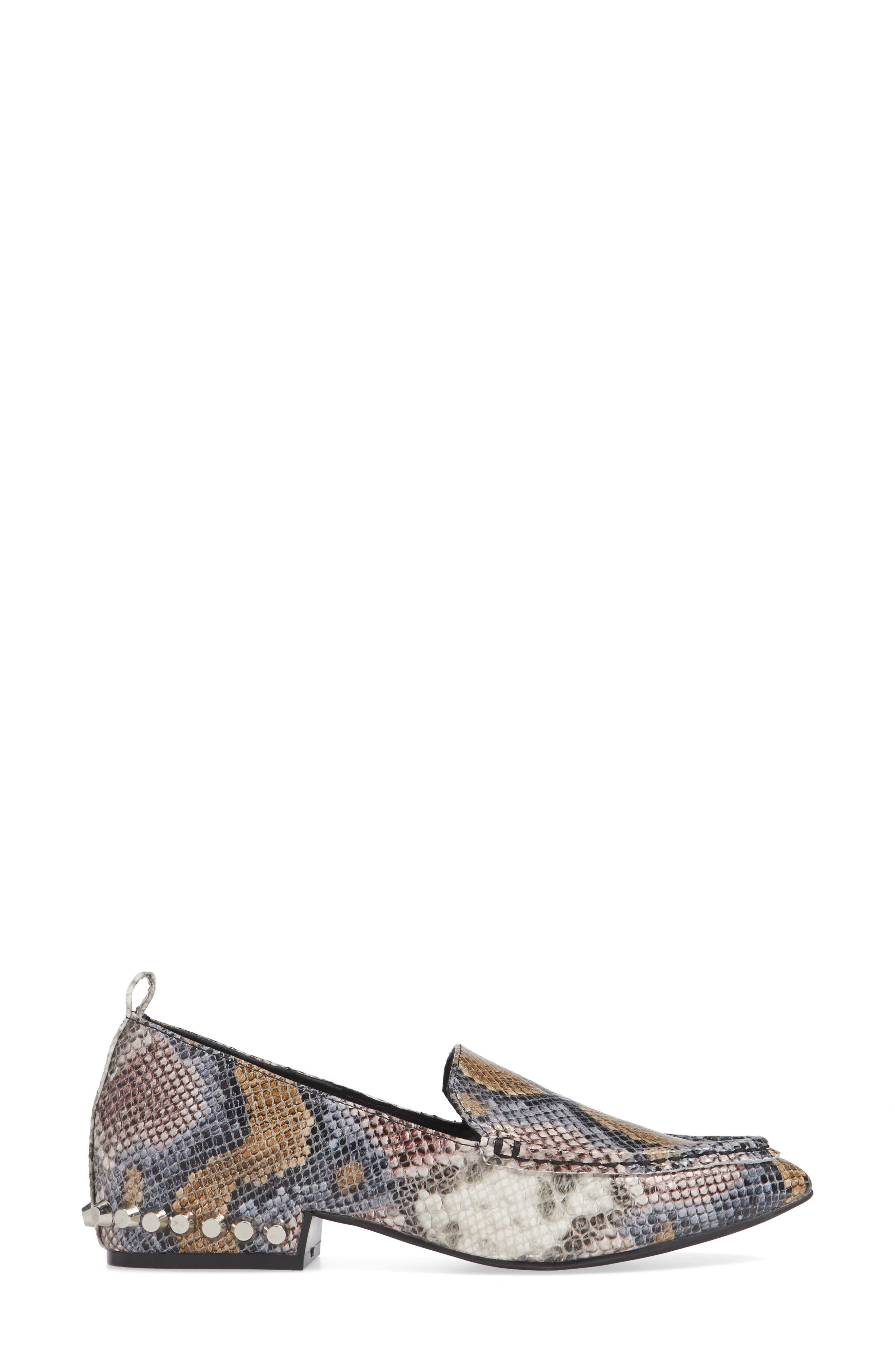 Barnett Studded Loafer,                             Alternate thumbnail 3, color,                             Multi Snake Silver