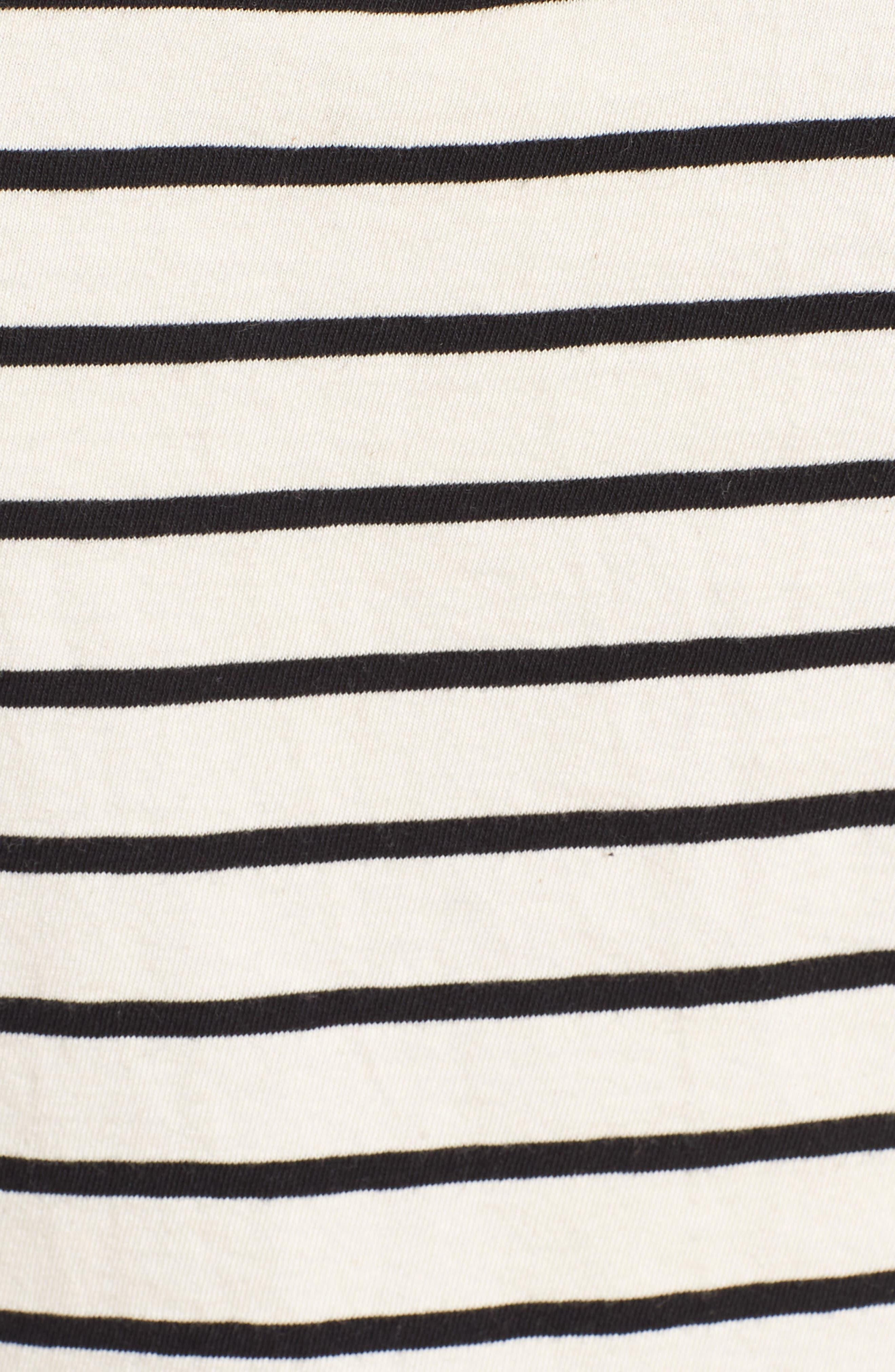 Stripe Mock Neck Sweater,                             Alternate thumbnail 4, color,                             Black/ Cream