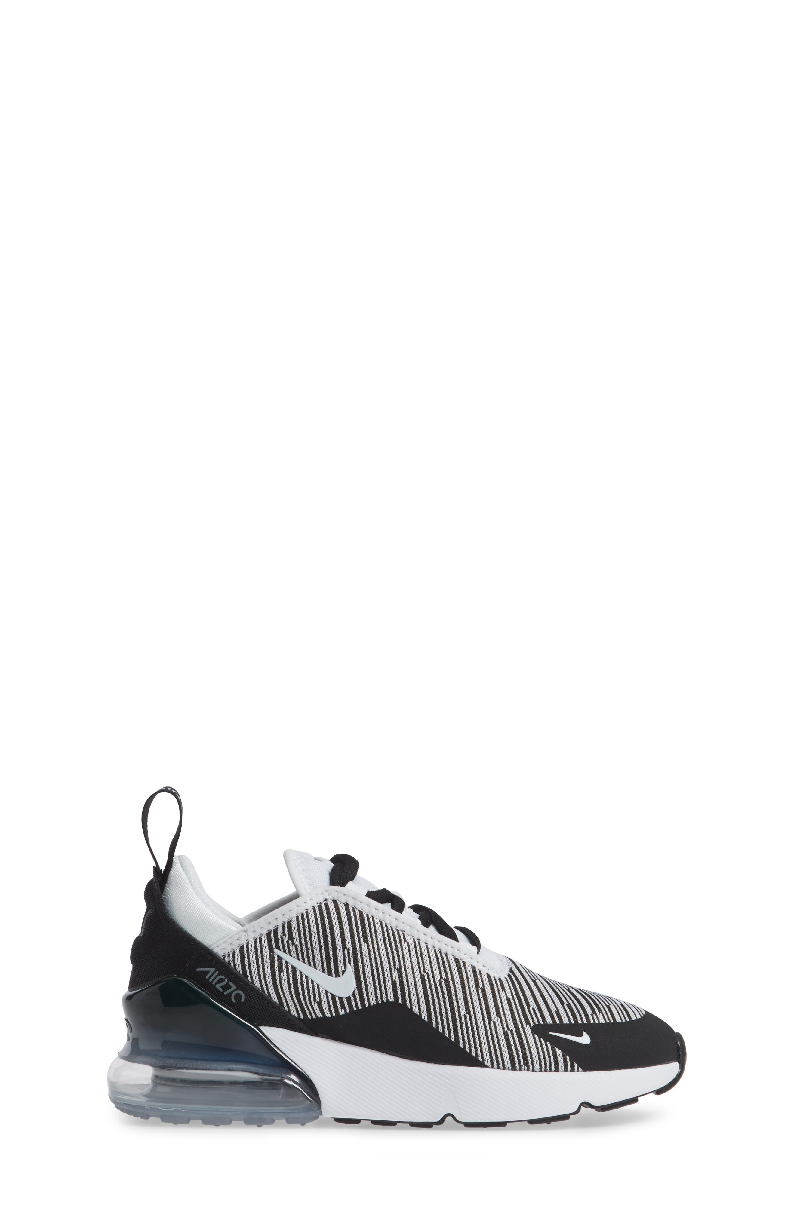 Air Max 270 Sneaker,                             Alternate thumbnail 4, color,                             Black/ White/ Grey/ Silver