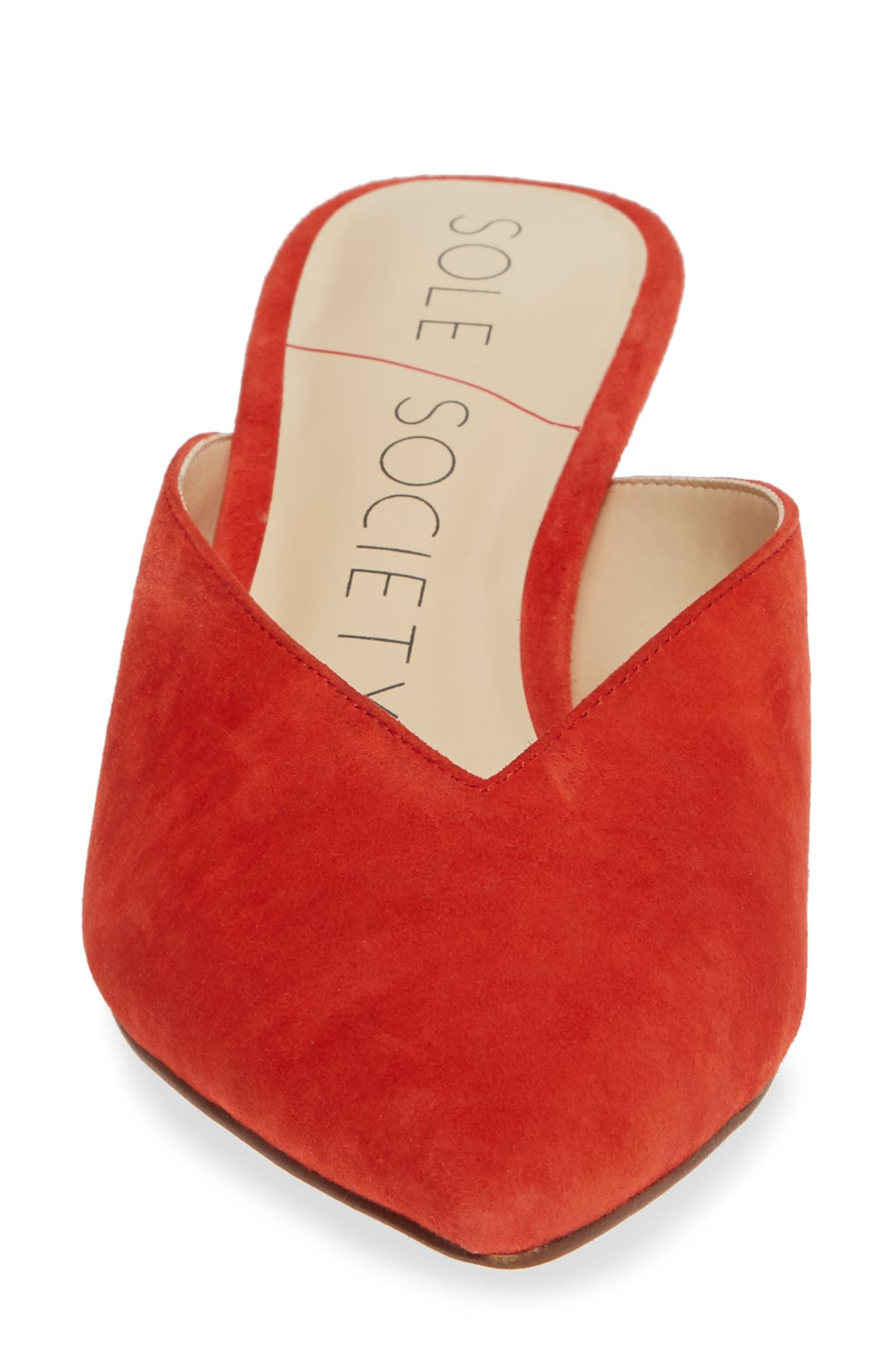Maleah Pointy Toe Mule,                             Alternate thumbnail 5, color,                             Deep Coral
