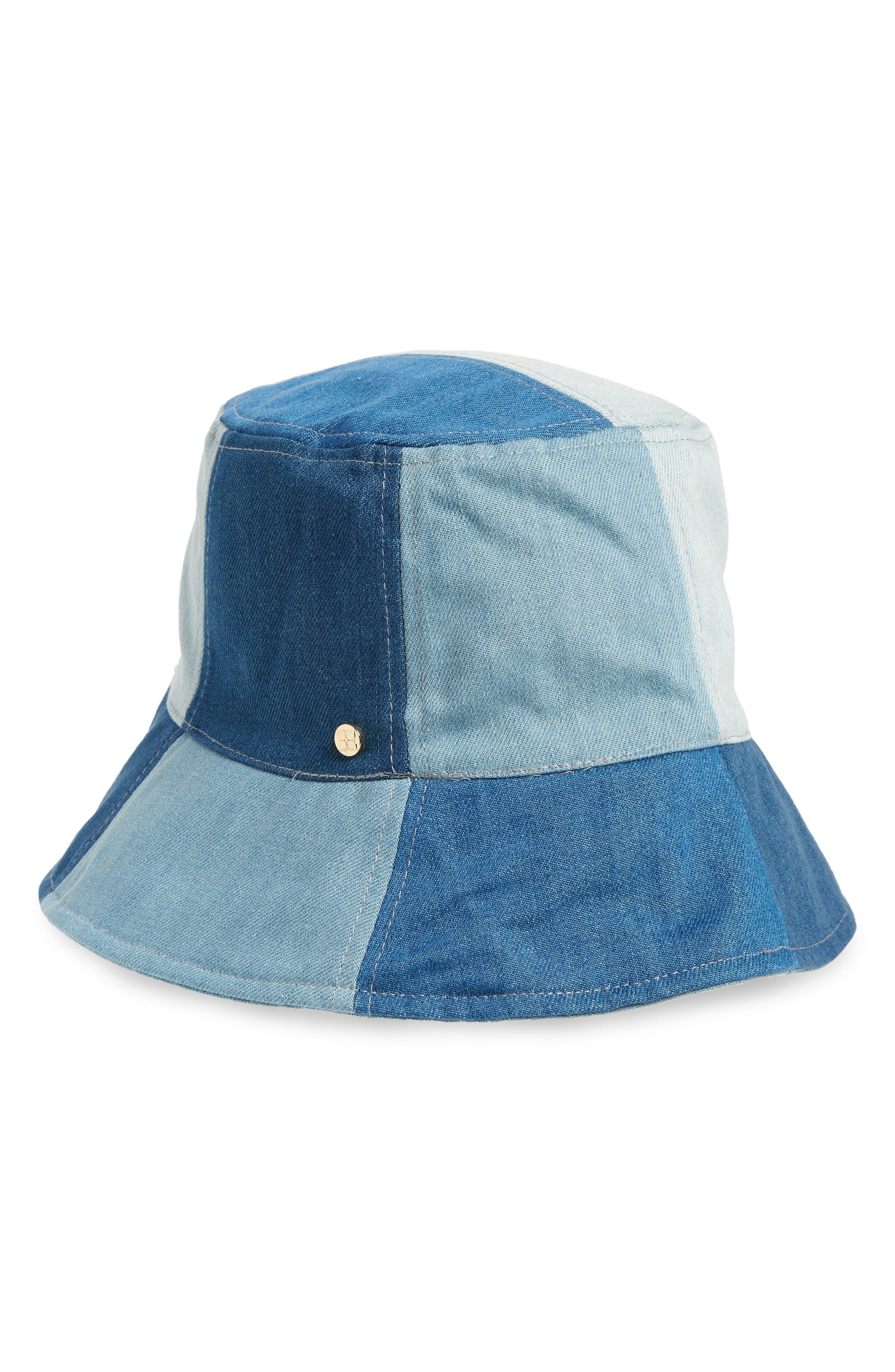 PATCHWORK DENIM BUCKET HAT - BLUE