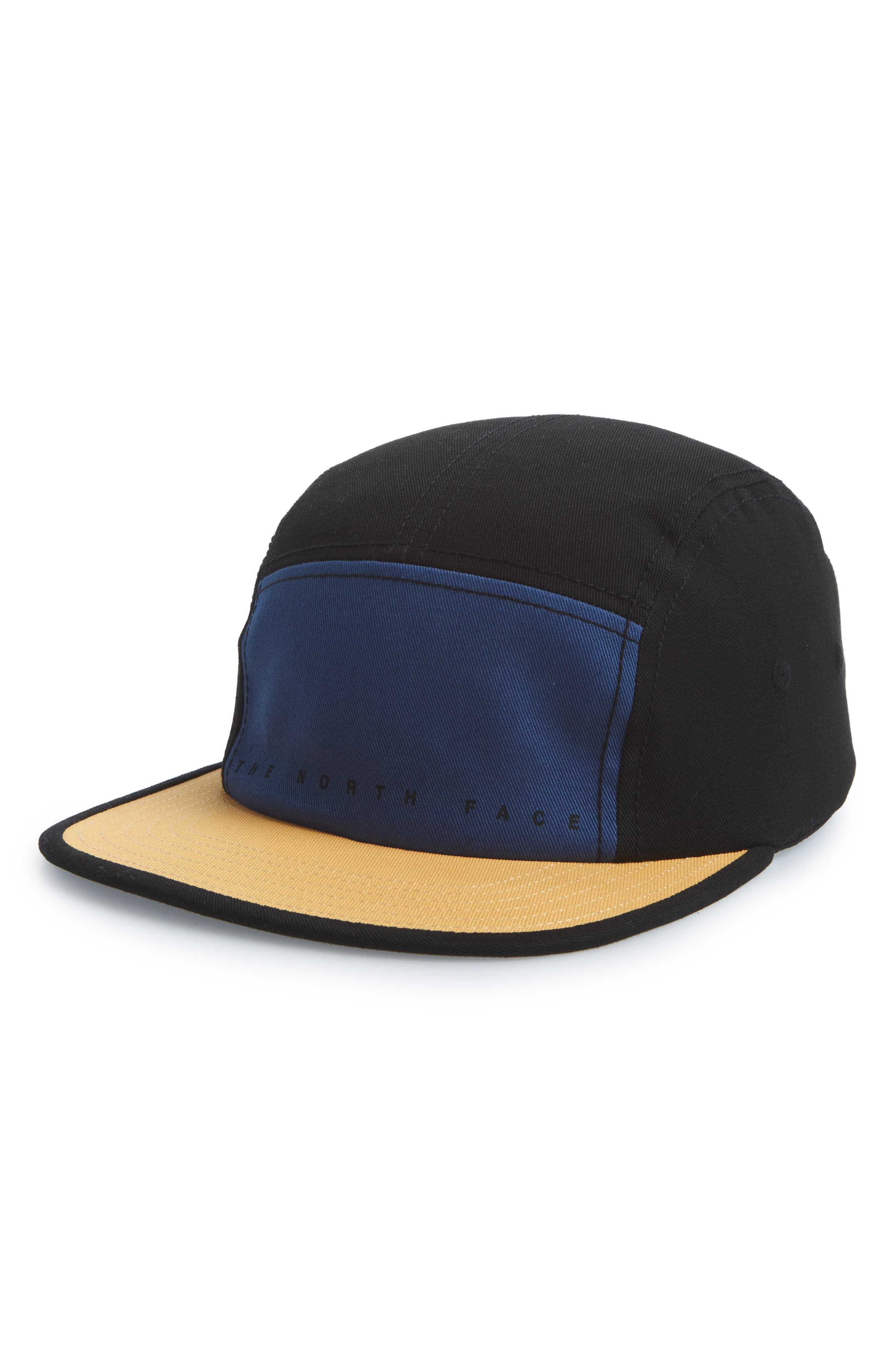 Five-Panel Baseball Cap,                         Main,                         color, Dish Blue/ Black/ Amber