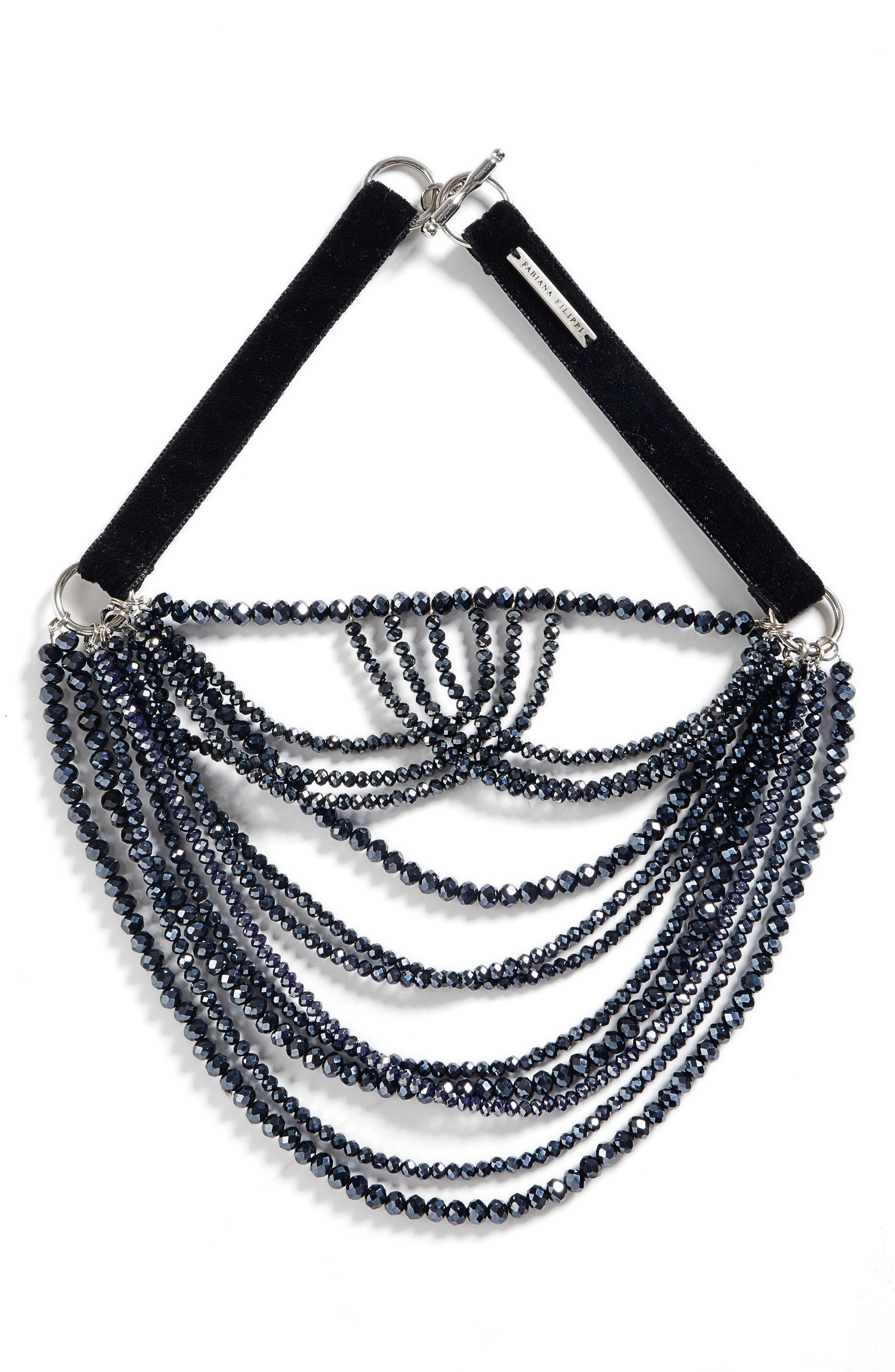 MULTISTRAND GLASS BEAD NECKLACE