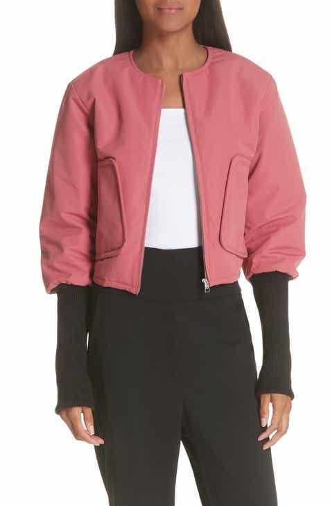 JI OH Contrast Cuff Crop Bomber Jacket