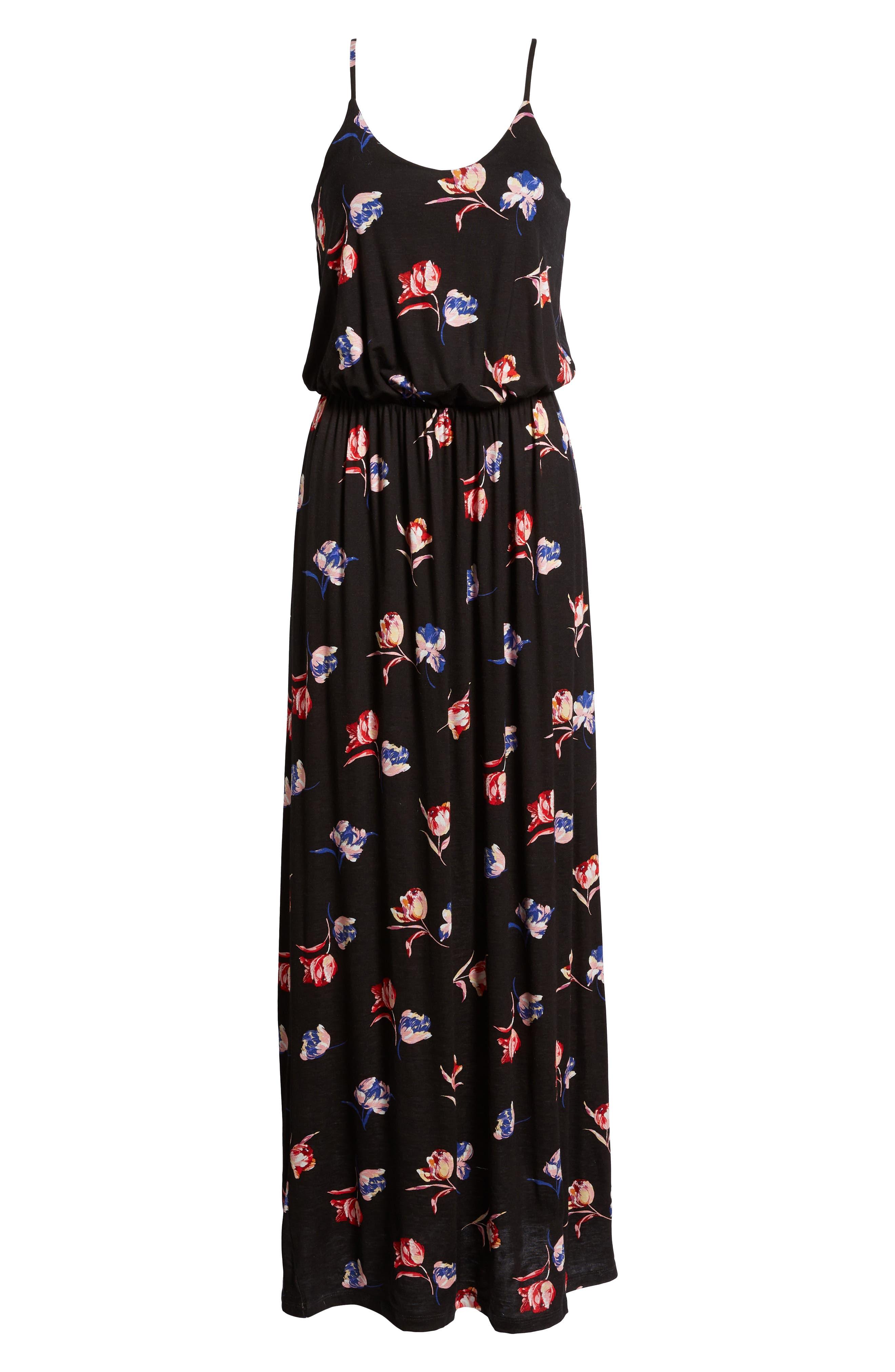 Knit Maxi Dress,                             Alternate thumbnail 4, color,                             Black/ Red