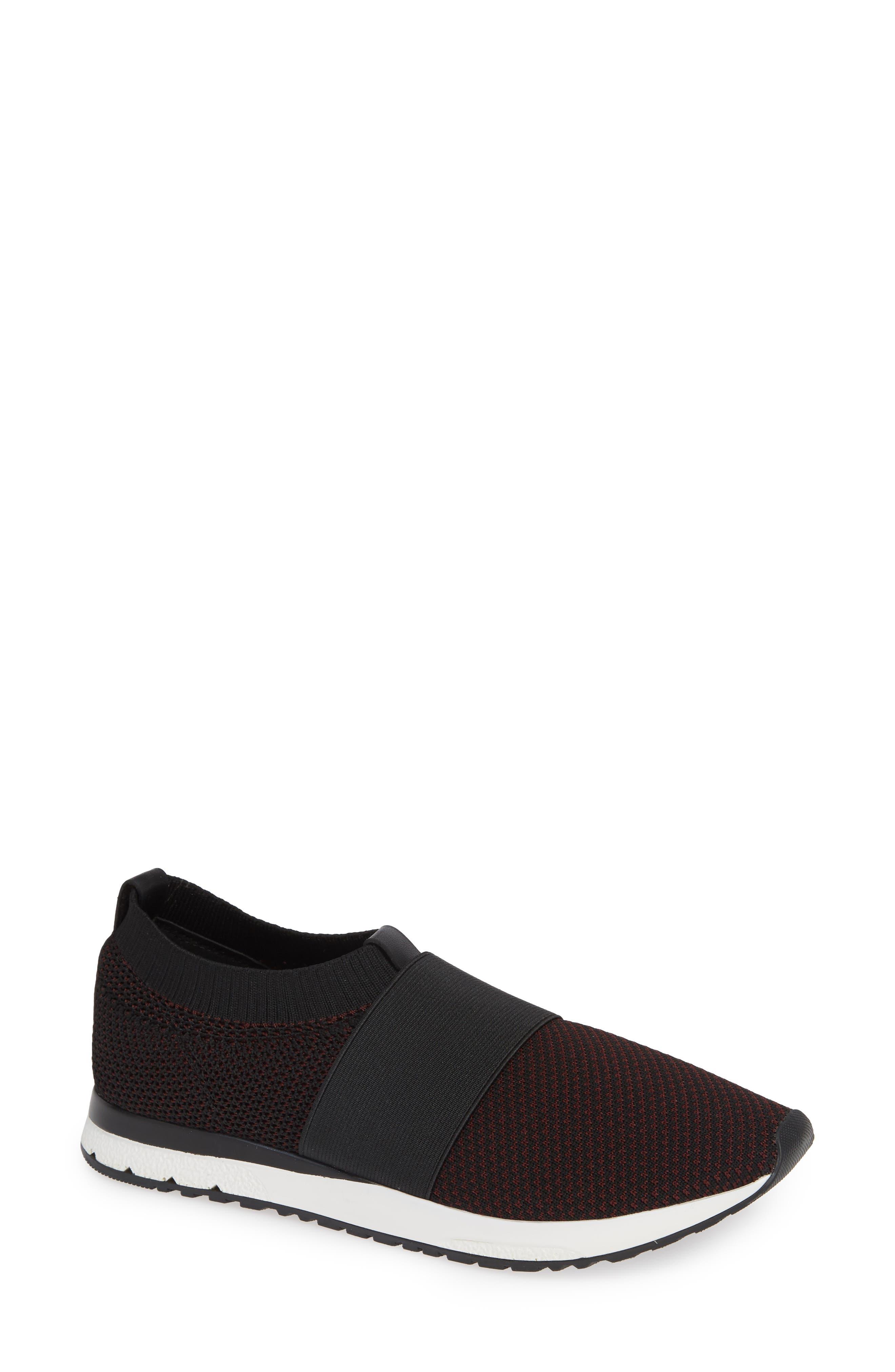 Brooke Slip-On Sneaker,                             Main thumbnail 1, color,                             Black/ Wine Knit Fabric
