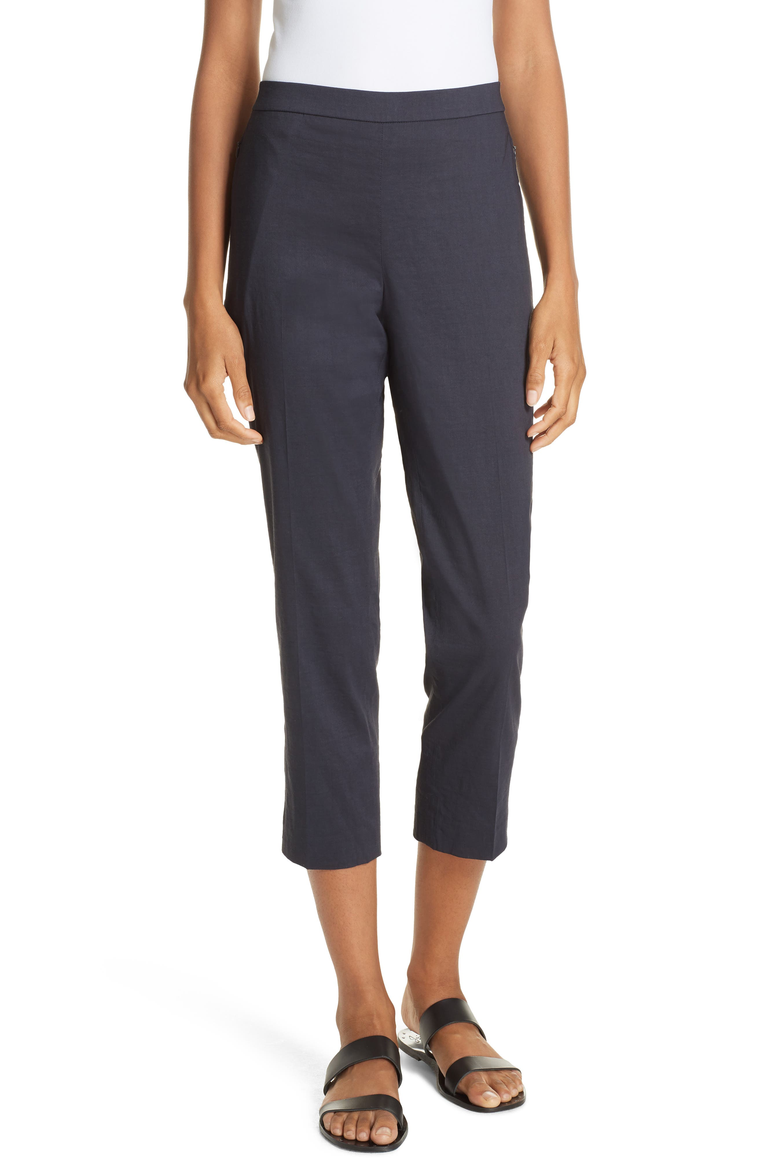 Pull-On Linen Blend Pants,                         Main,                         color, Concord