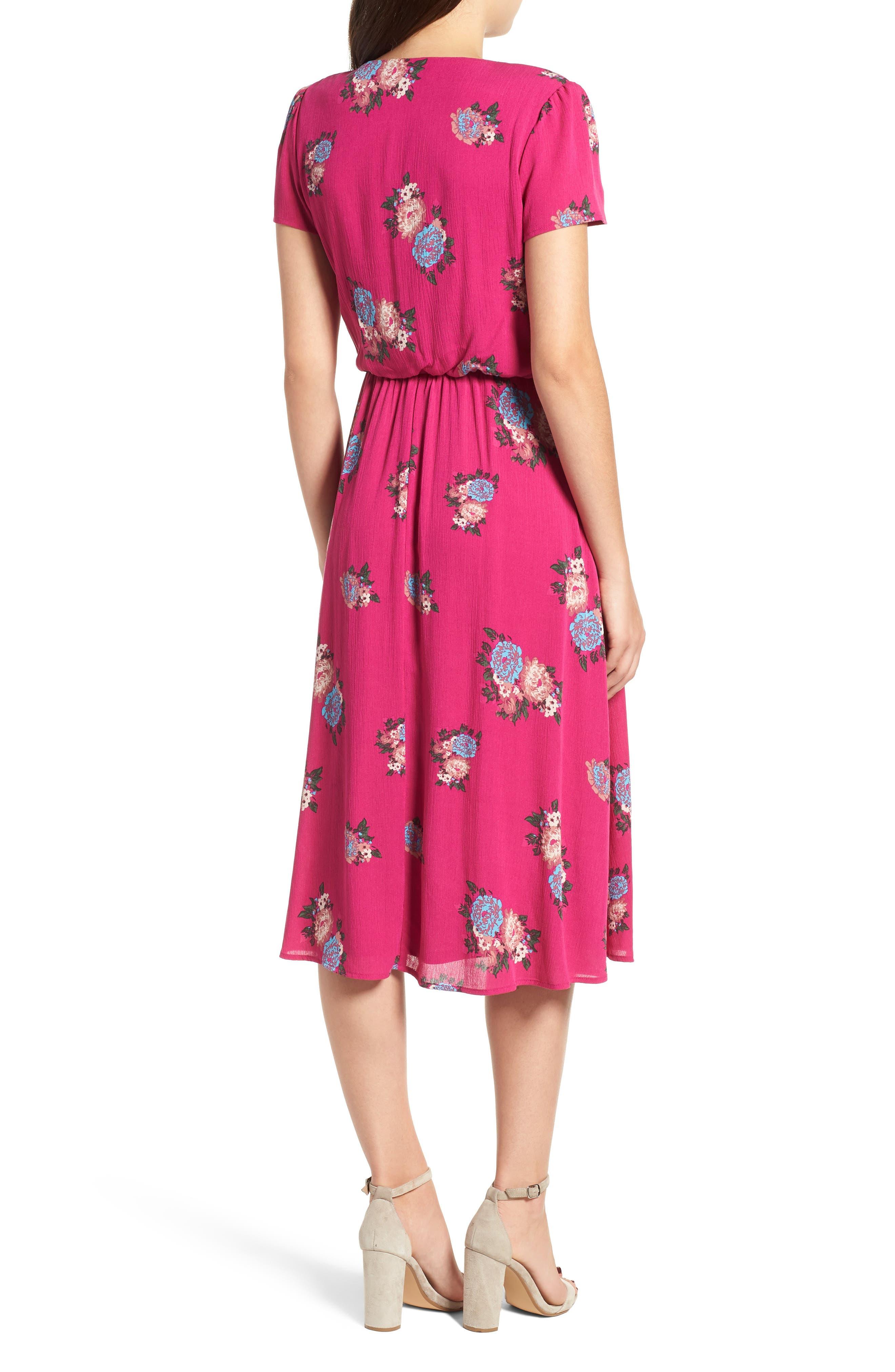 Blouson Midi Dress,                             Alternate thumbnail 2, color,                             Pink Berry Floral