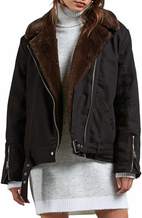 5482dd101e7f Volcom Perfect Stone Faux Fur Lined Moto Jacket