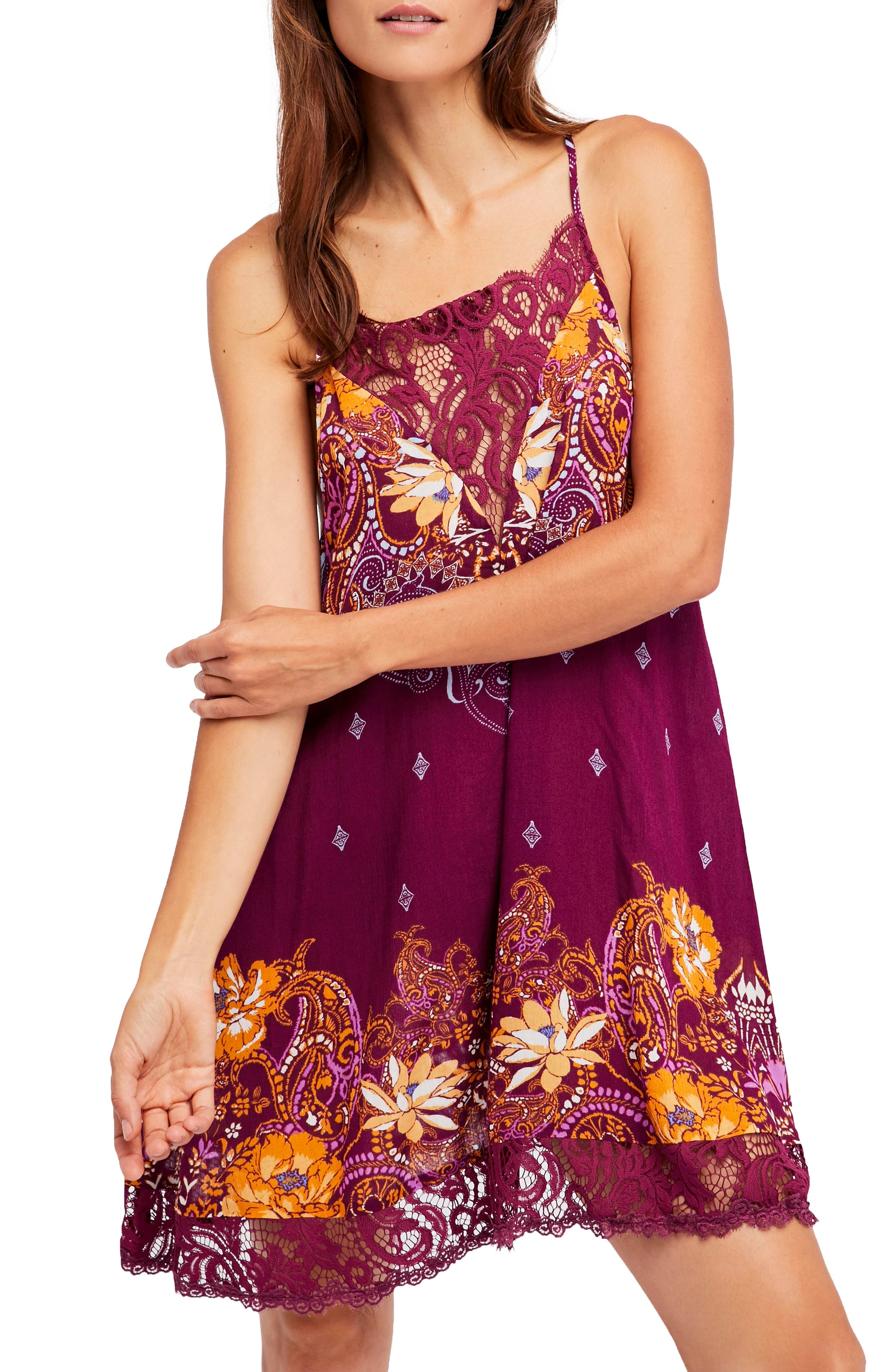 Who's Sorry Now Print Slipdress,                             Main thumbnail 1, color,                             Wine