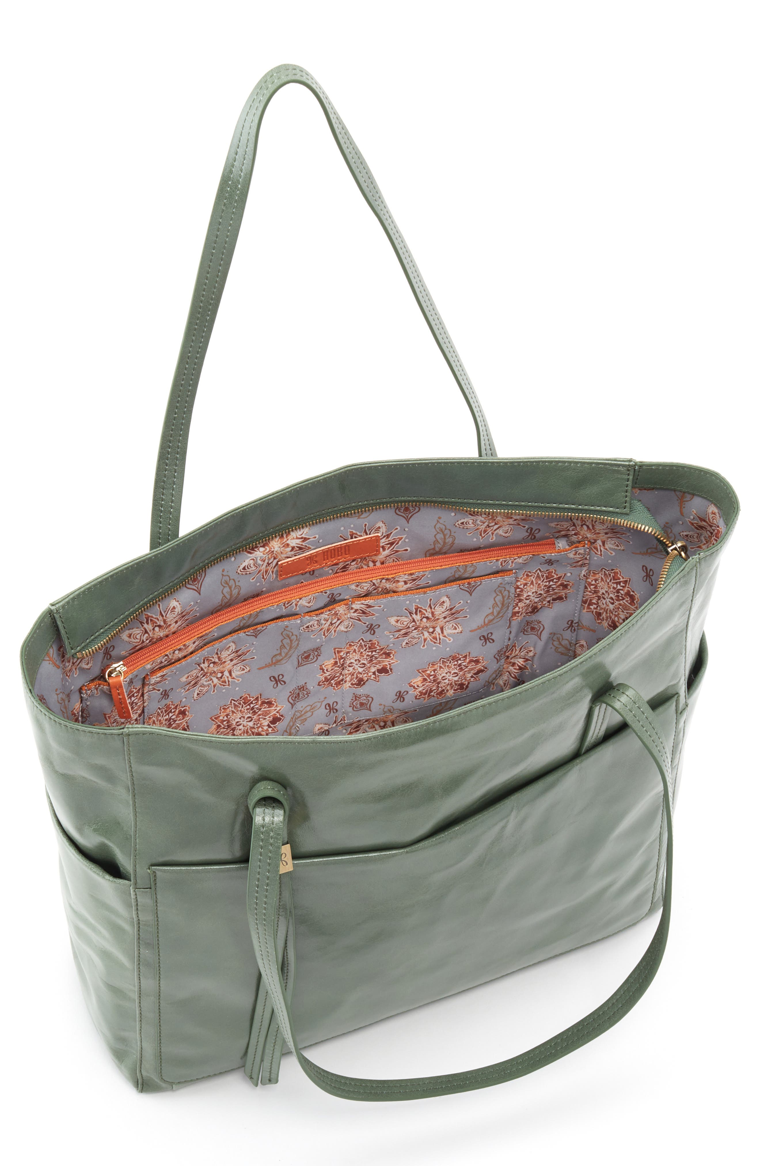 Hero Leather Tote,                             Alternate thumbnail 3, color,                             Moss