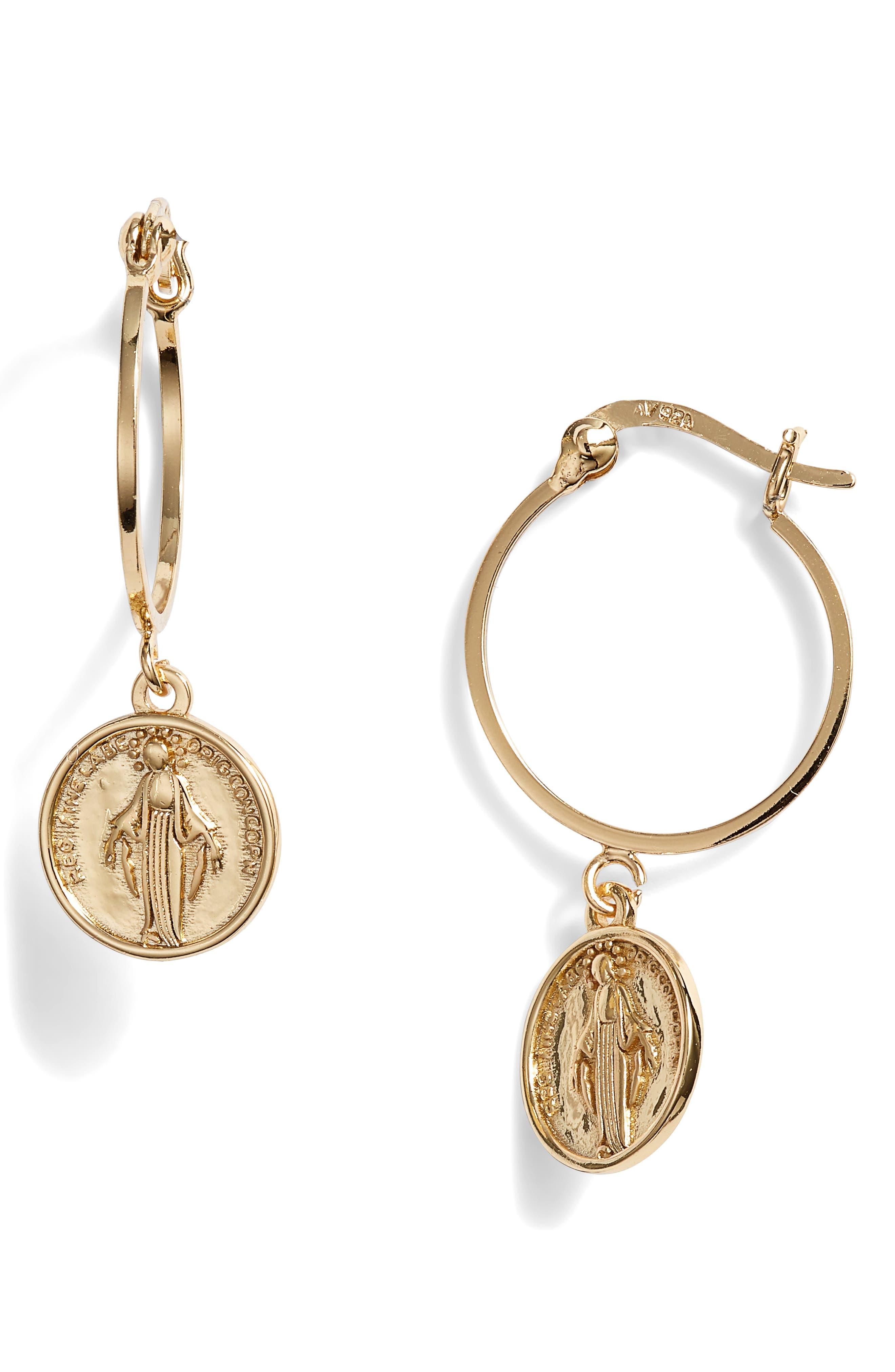 Medallion Drop Earrings in Gold