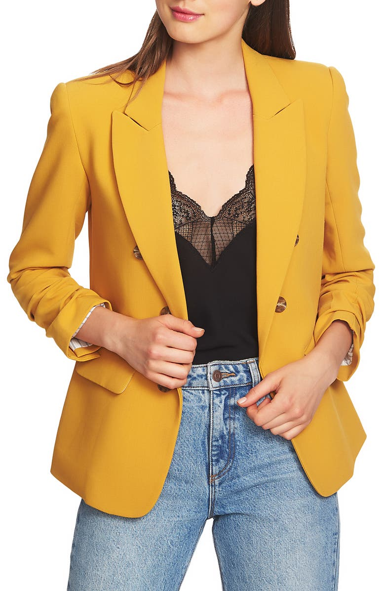 Ruched Sleeve Stretch Crepe Blazer | Nordstrom