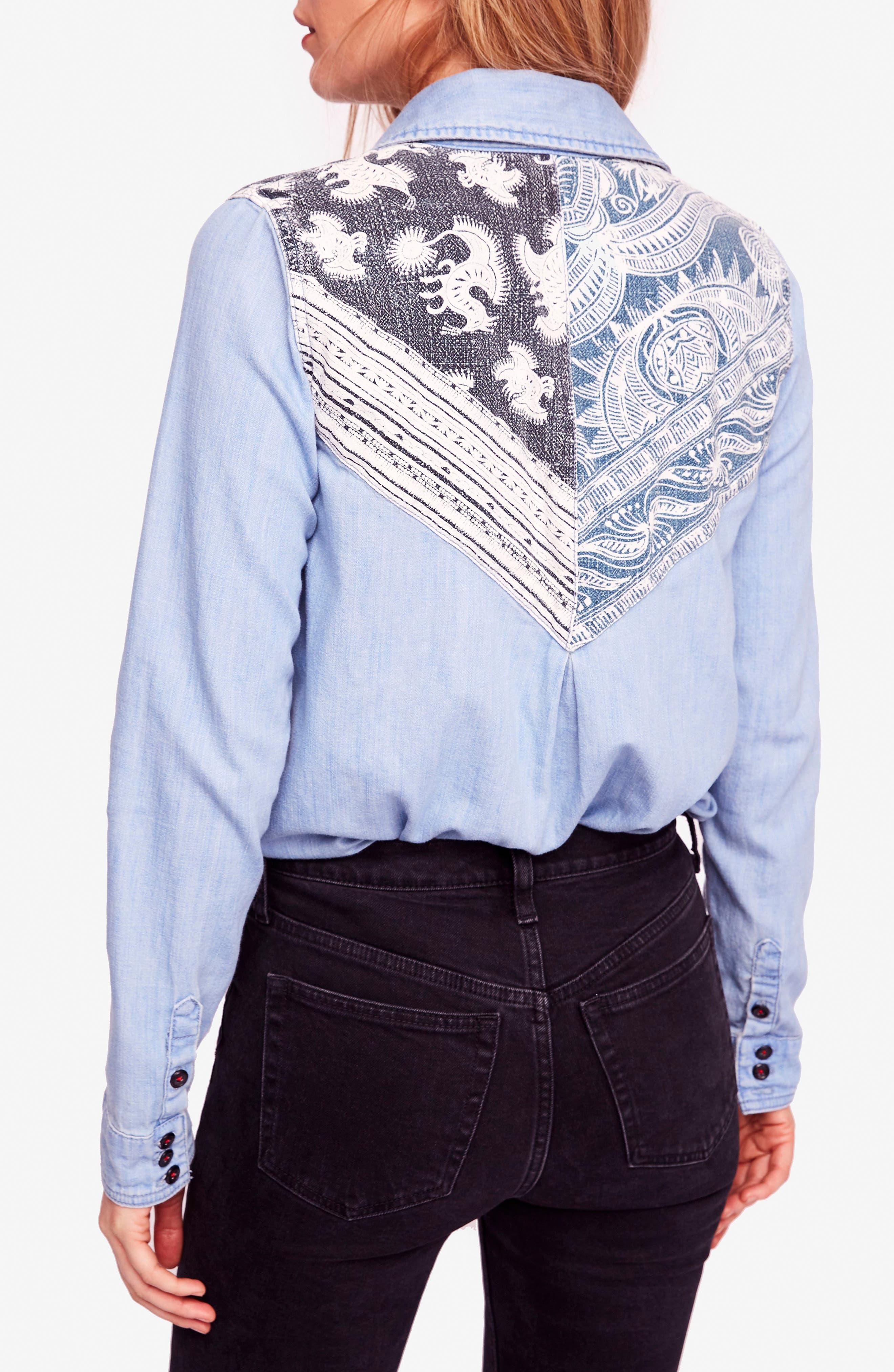 Meet Me in Marfa Western Shirt,                             Alternate thumbnail 2, color,                             Blue