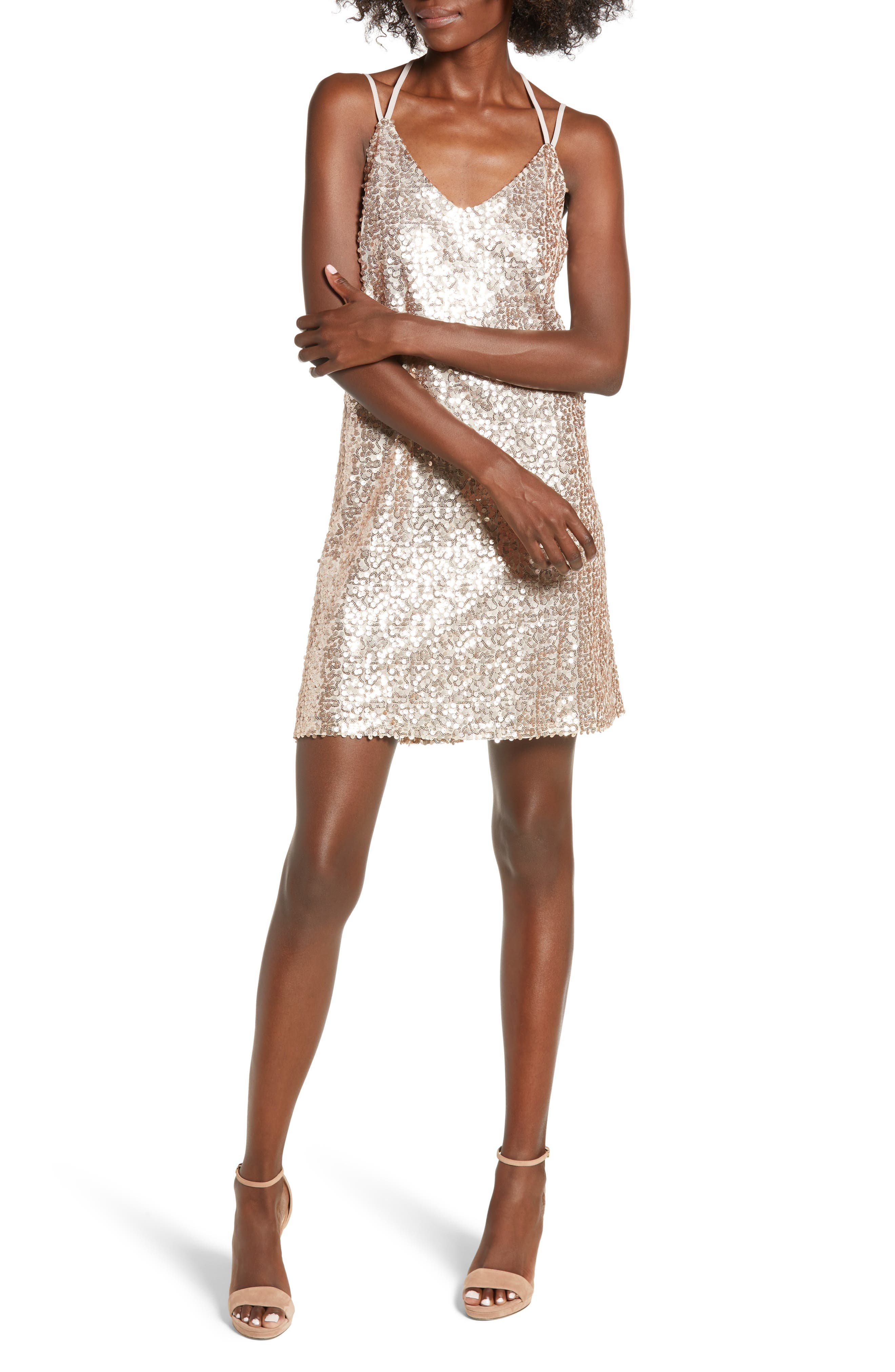 LOVE, FIRE Strappy Sequin Slipdress in Gold