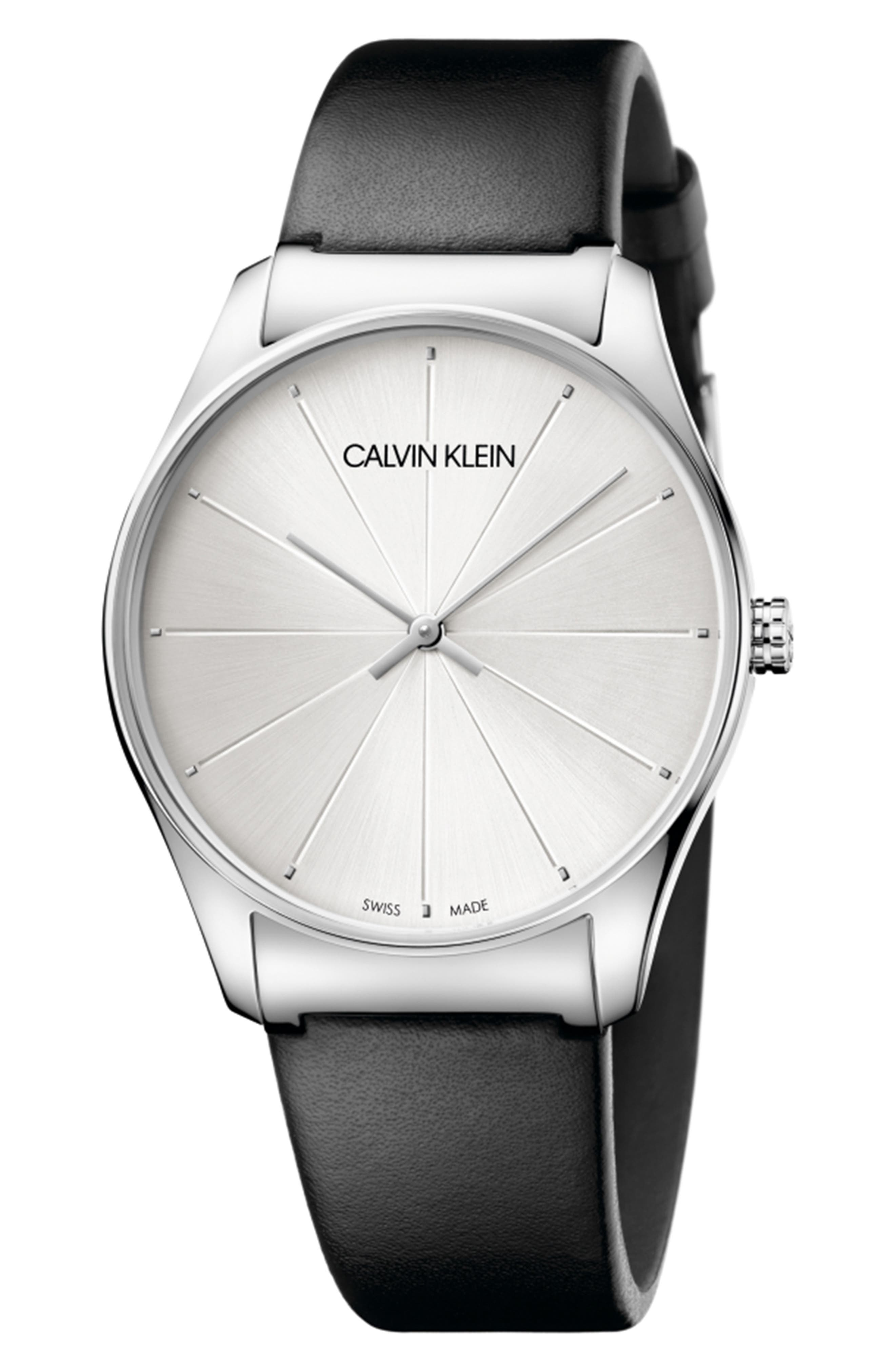 CLASSIC LEATHER STRAP WATCH, 38MM