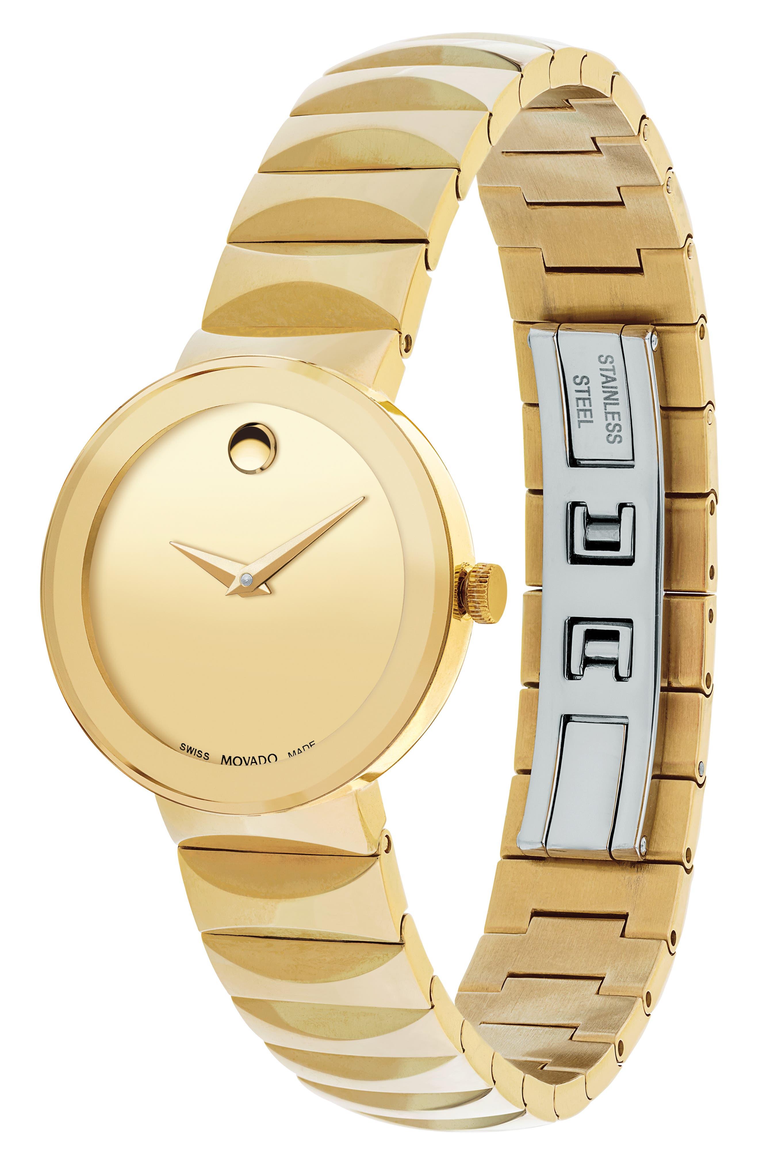 Sapphire Bracelet Watch, 26mm,                             Alternate thumbnail 3, color,                             Gold/ Black/ Gold
