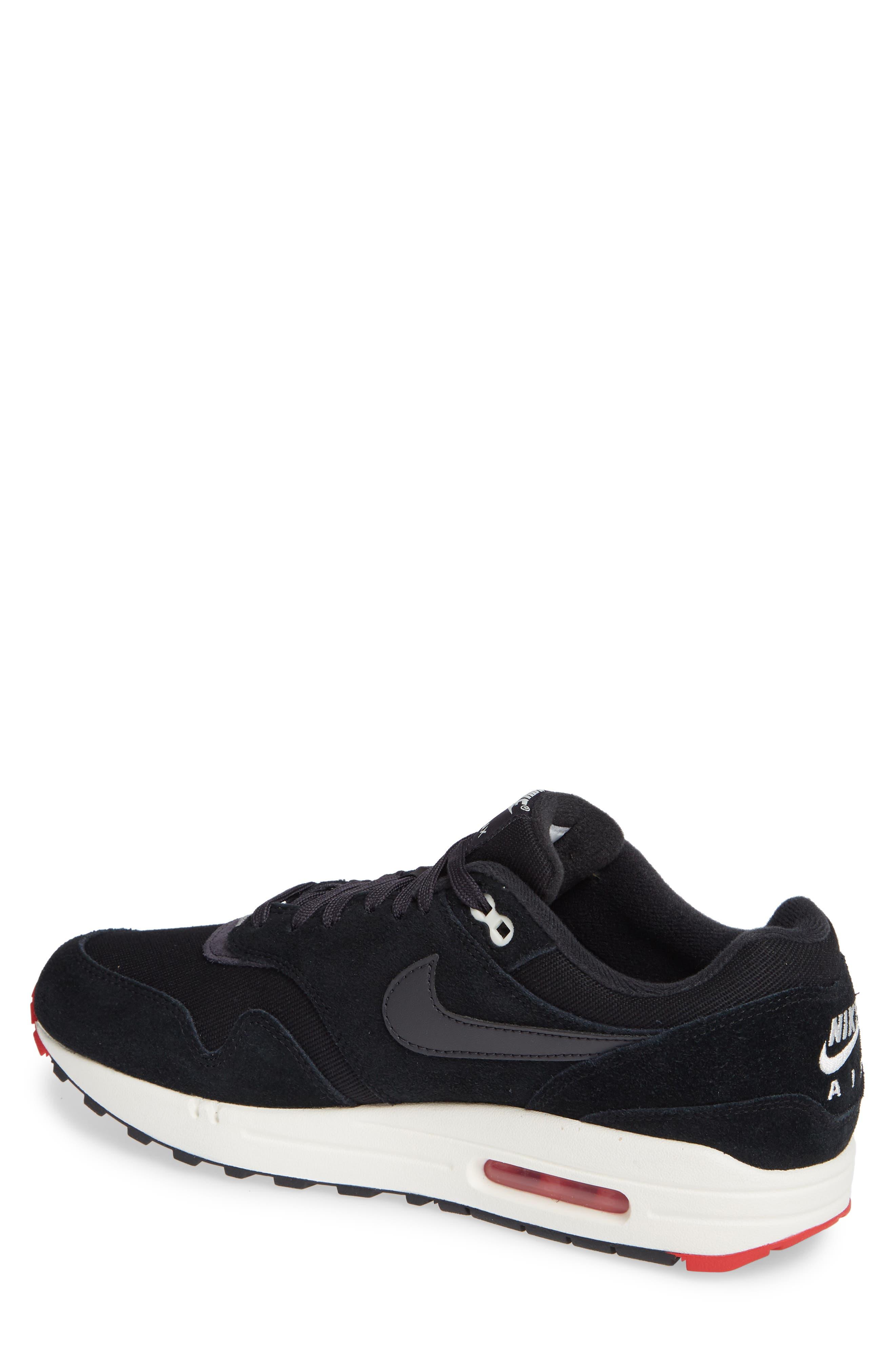 Air Max 1 Premium Sneaker,                             Alternate thumbnail 2, color,                             Black/ Grey/ University Red