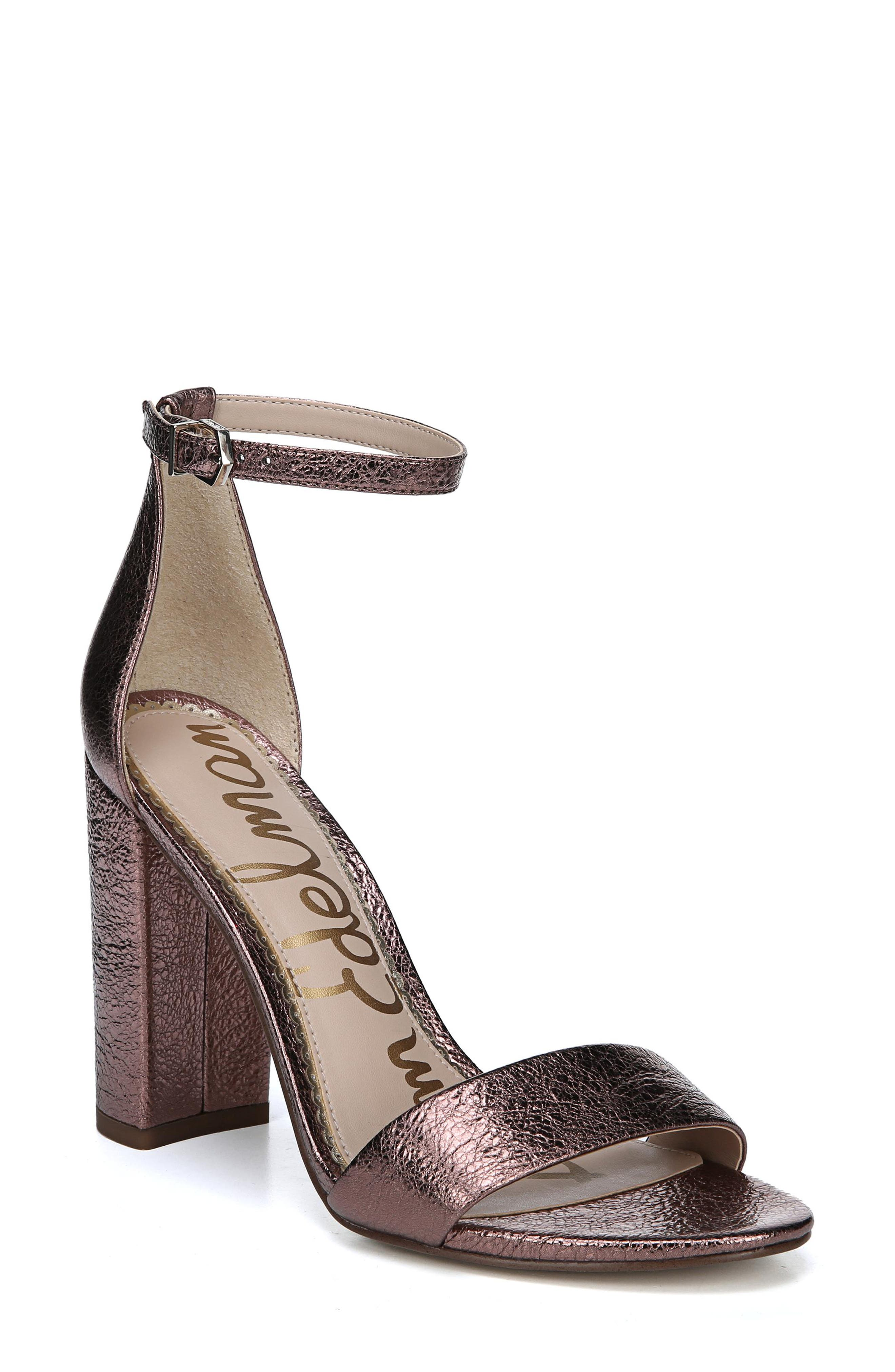 Yaro Ankle Strap Sandal,                             Main thumbnail 1, color,                             Cameo Pink Suede