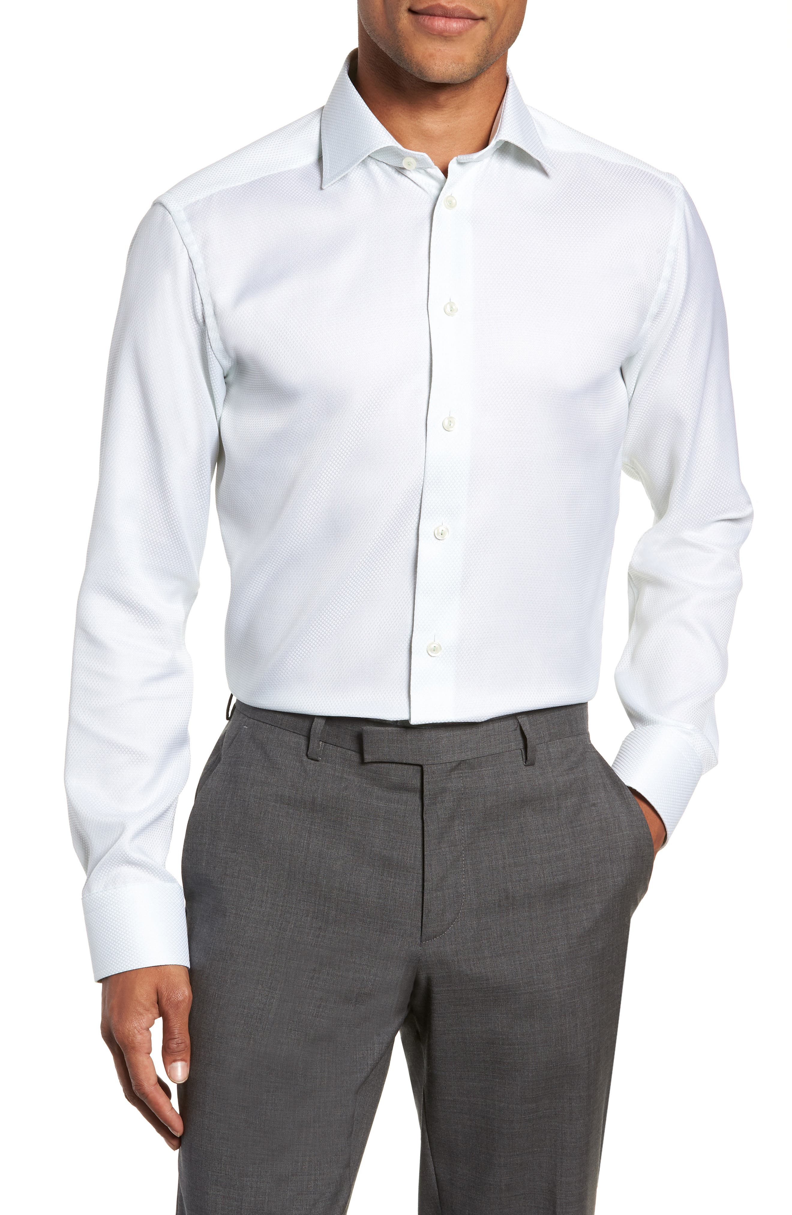 ETON SLIM FIT TEXTURED SOLID DRESS SHIRT