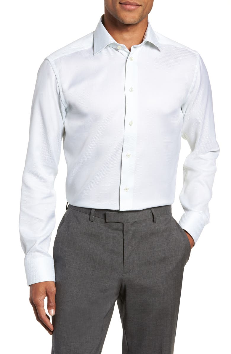 Eton Slim Fit Textured Solid Dress Shirt In Mint Modesens