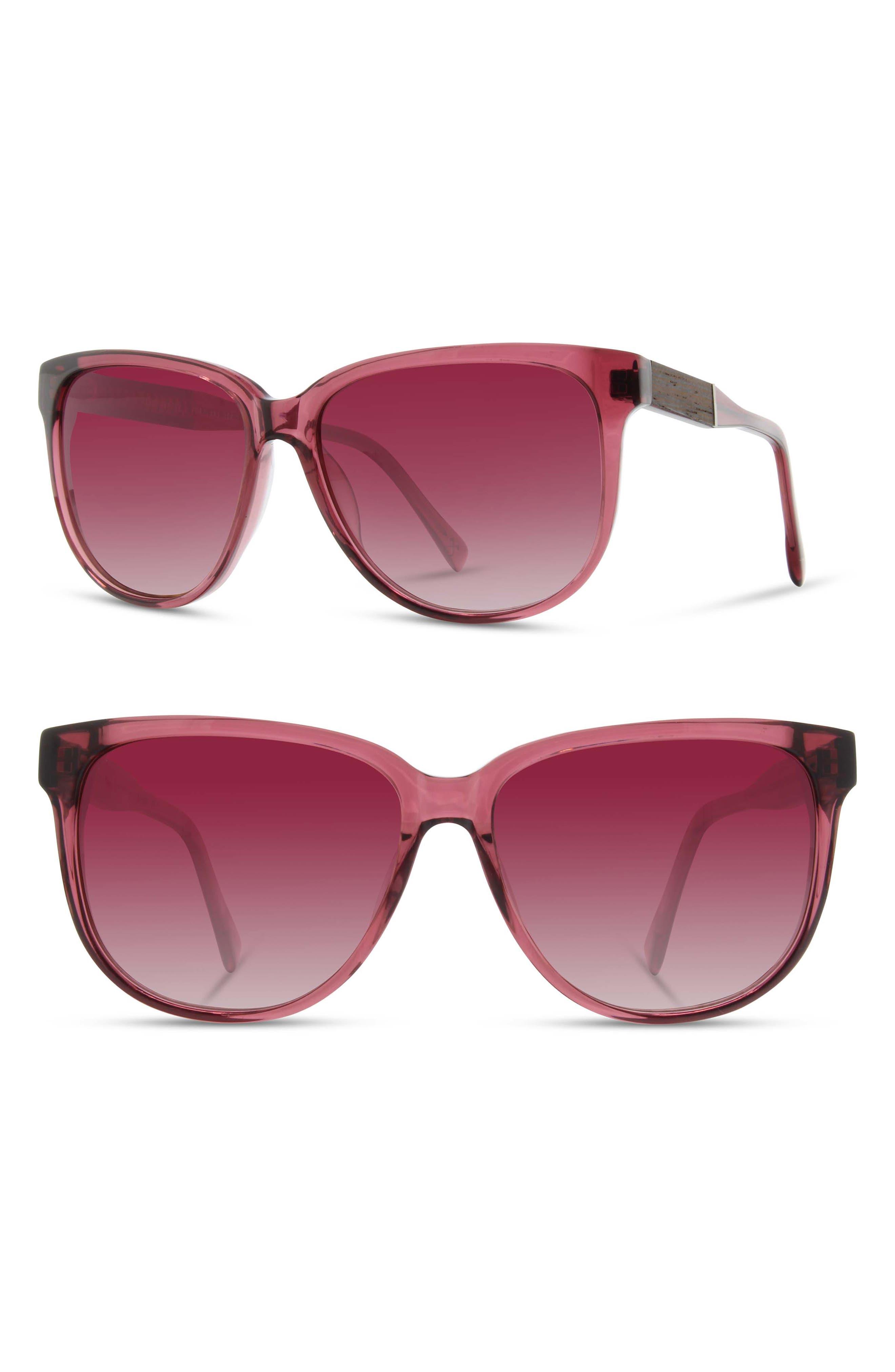 SHWOOD 'Mckenzie' 57Mm Retro Sunglasses - Blossom/ Ebony/ Brown