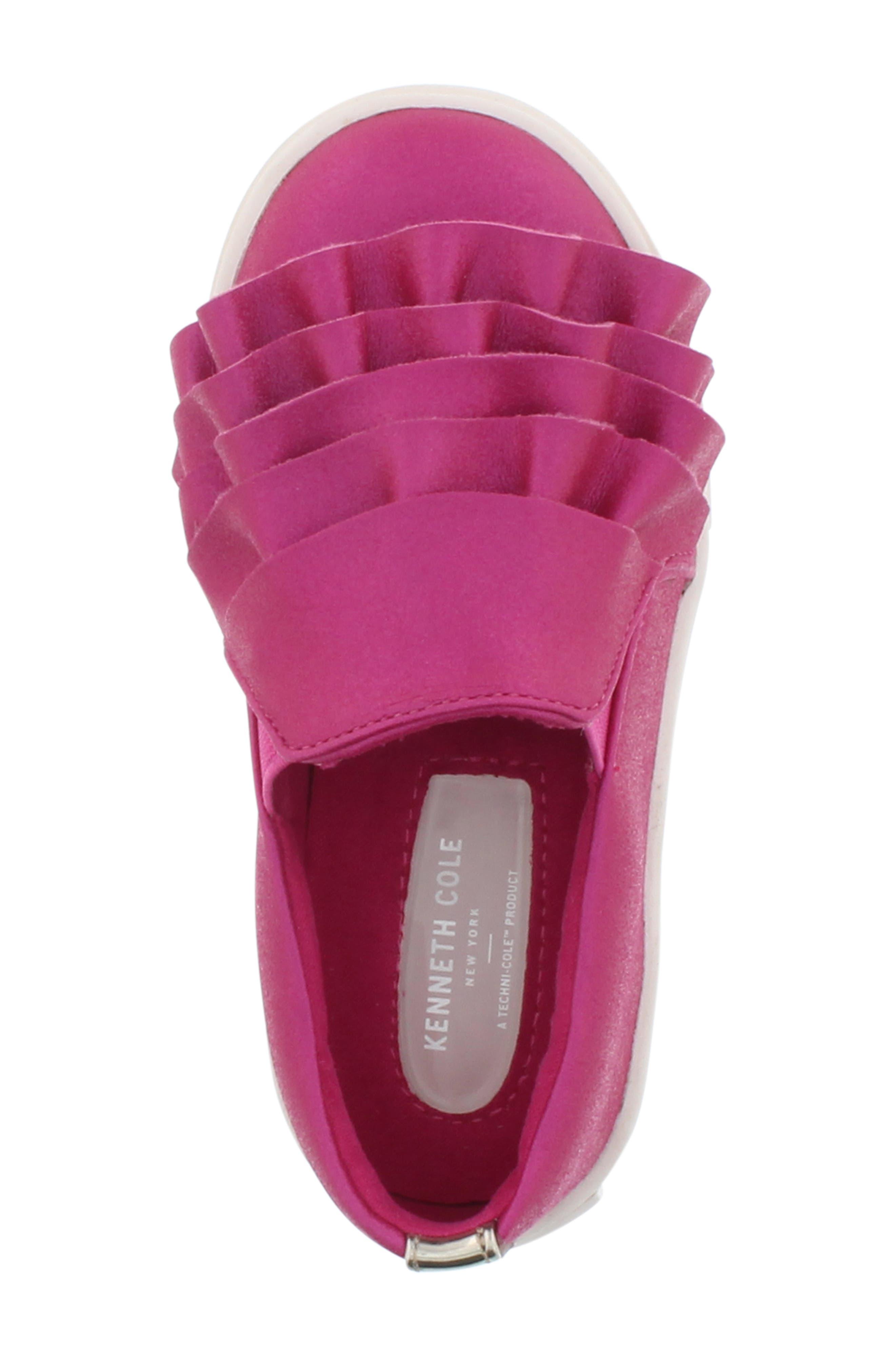 Shimmery Kam Ruffle Slip-On Sneaker,                             Alternate thumbnail 4, color,                             Fuchsia