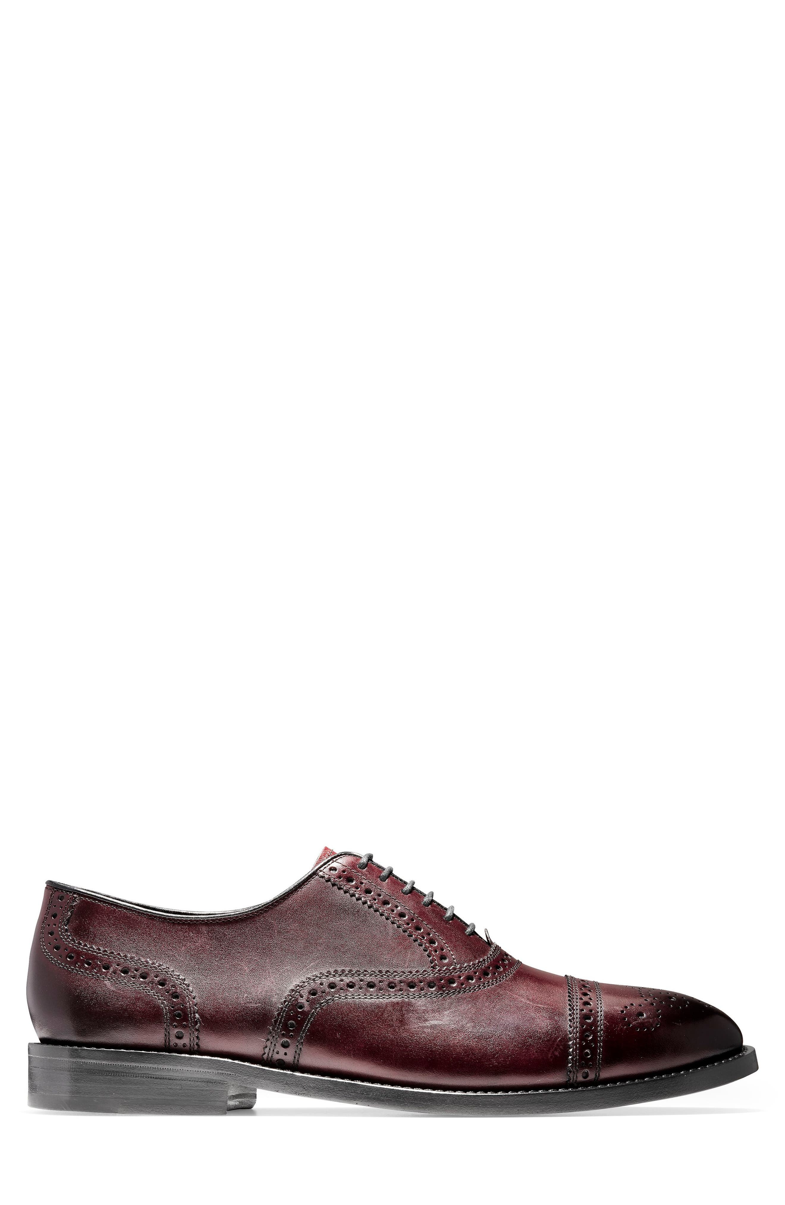 American Classics Kneeland Cap Toe Oxford,                             Alternate thumbnail 4, color,                             Oxblood Leather