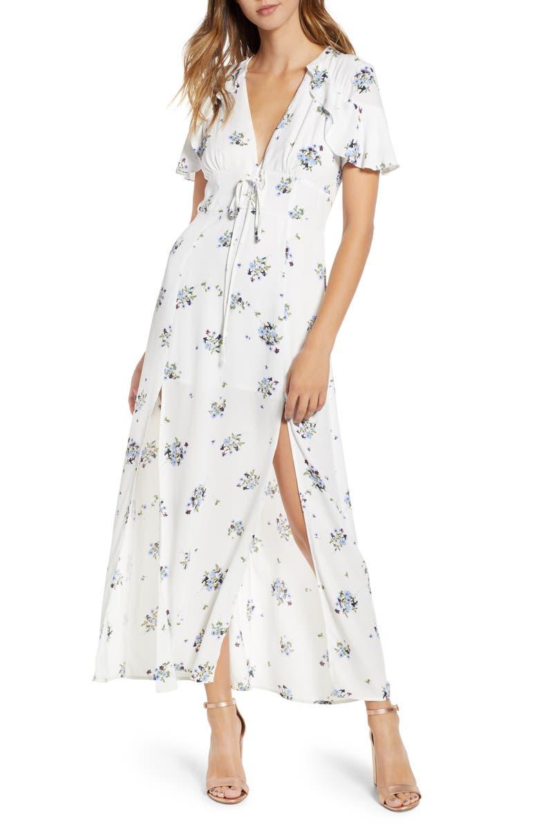 Floral Print Corset Waist Maxi Dress