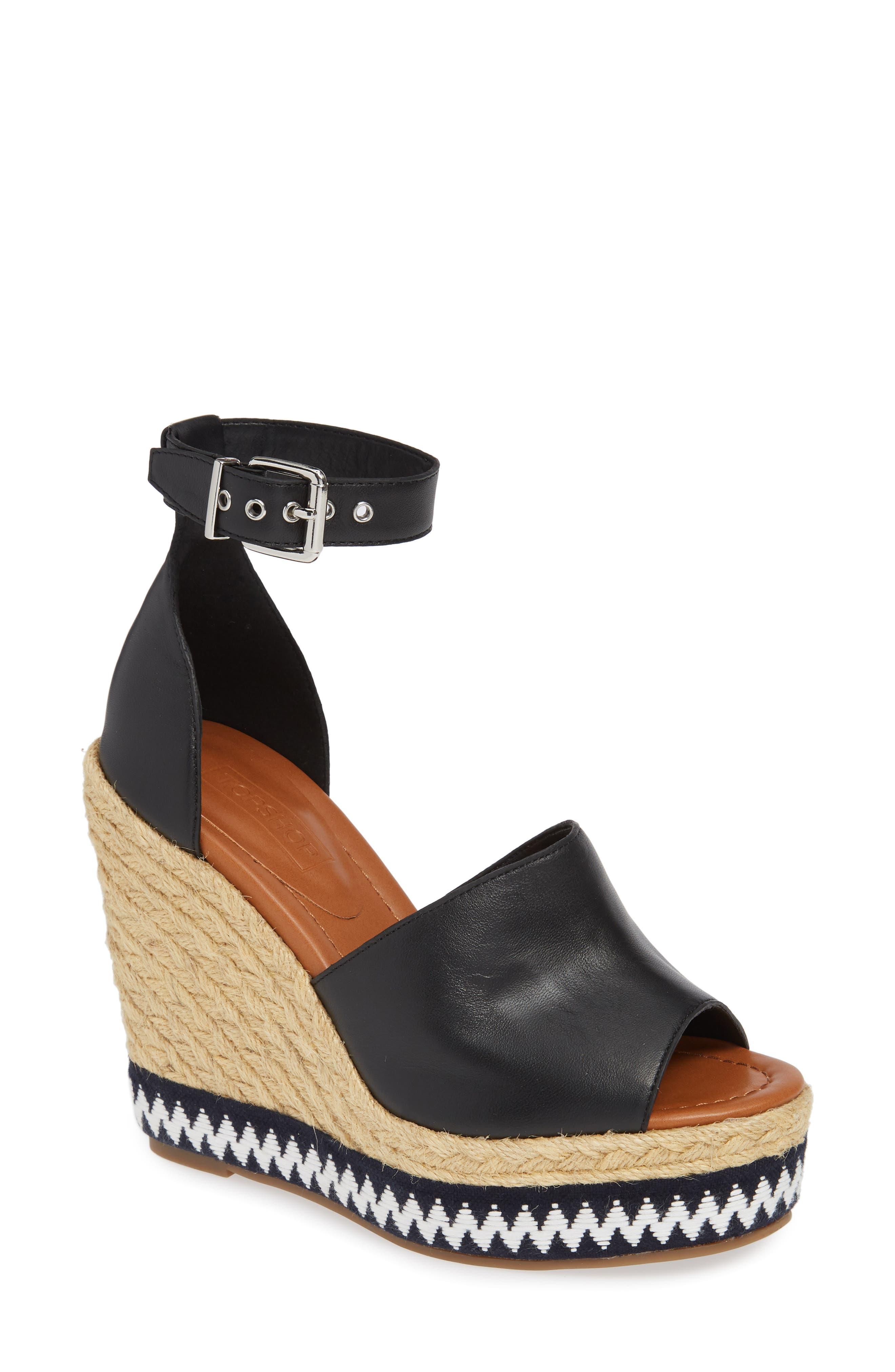 Wing Espadrille Wedge Sandal,                             Main thumbnail 1, color,                             Black