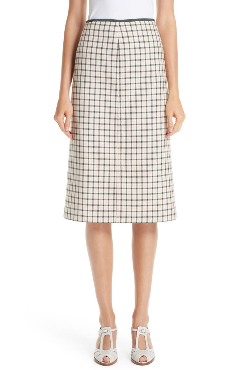 Check Wool Pencil Skirt