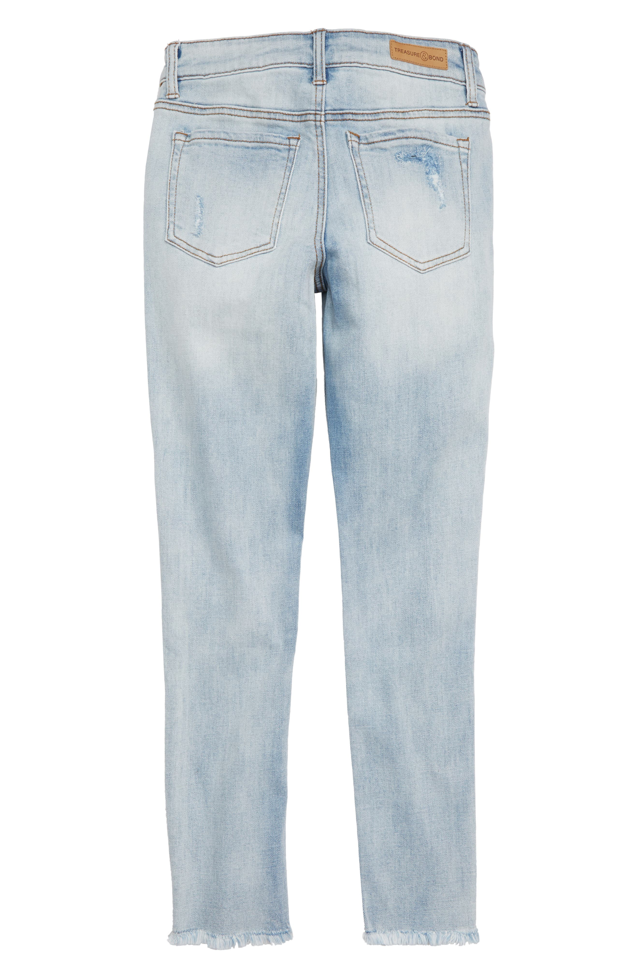 Repaired Girlfriend Jeans,                             Alternate thumbnail 2, color,                             Faded Wash