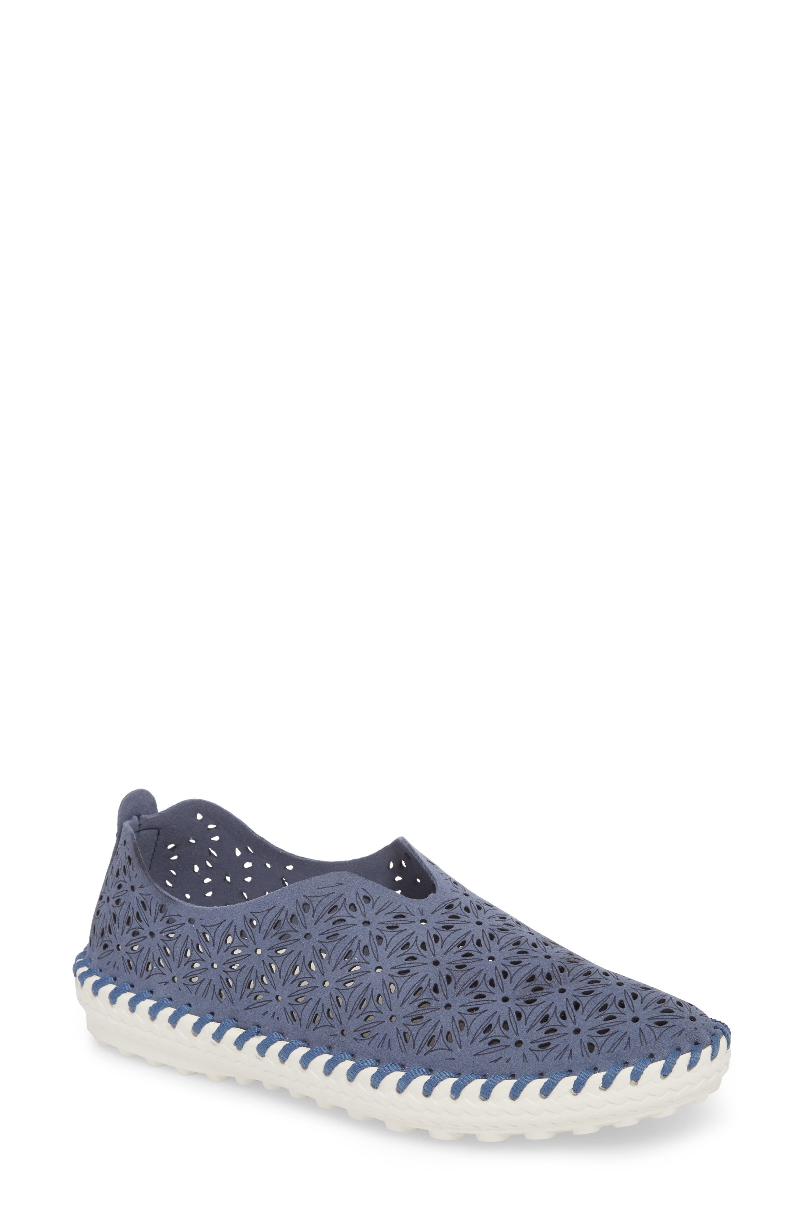 Perforated Slip-On Flat,                         Main,                         color, Navy Leather