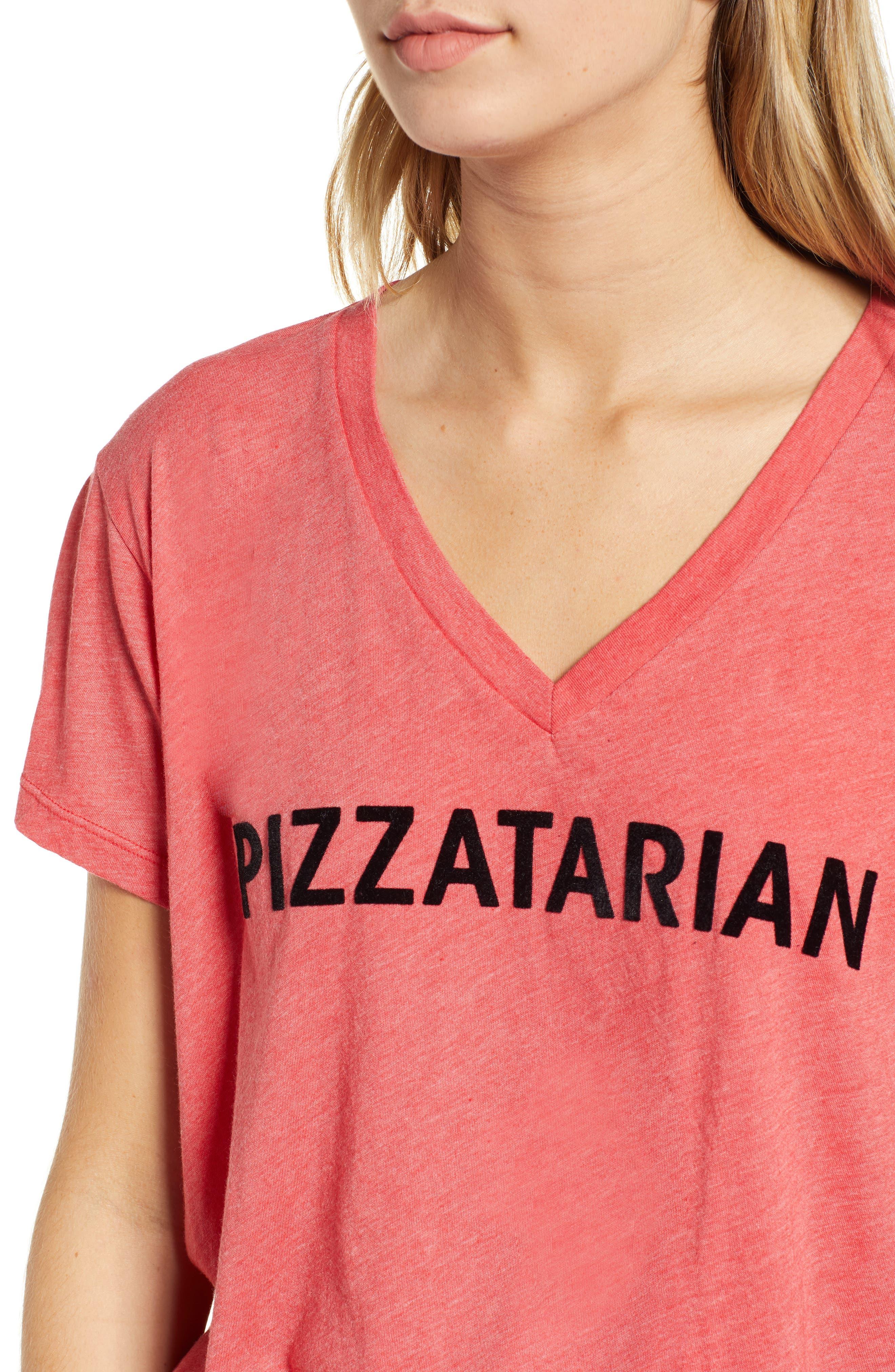 Pizzatarian Romeo Tee,                             Alternate thumbnail 3, color,                             Scarlet