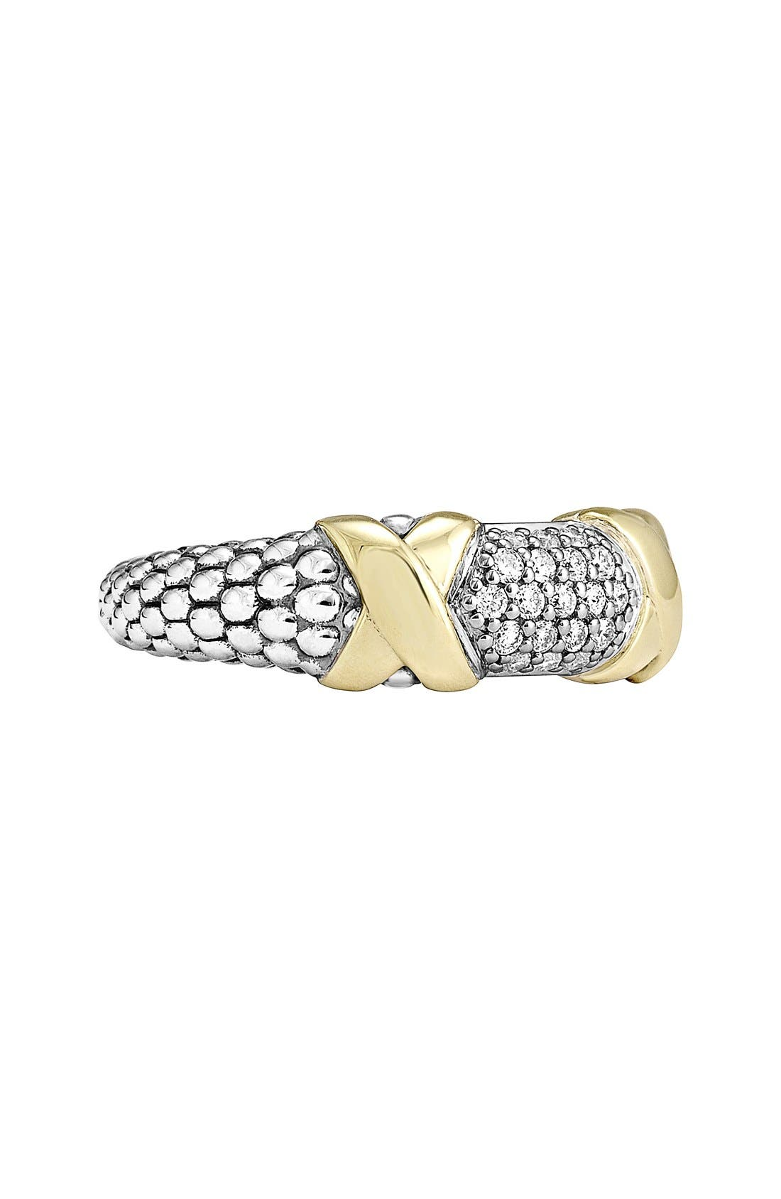 'Diamond Luxe' Ring,                             Alternate thumbnail 4, color,                             Silver/ Gold