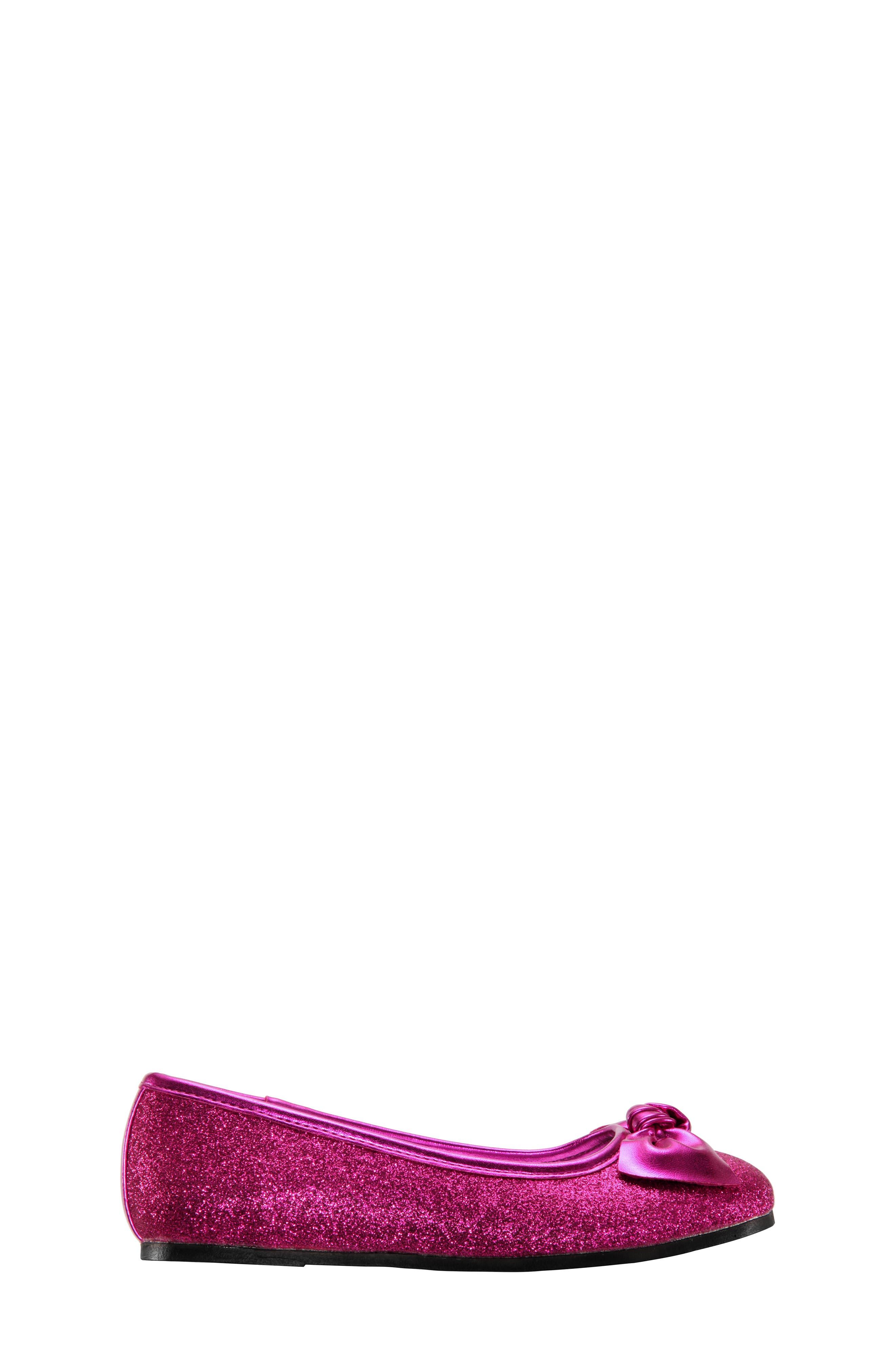 Larabeth Glitter Ballet Flat,                             Alternate thumbnail 7, color,                             Berry Metallic/ Glitter
