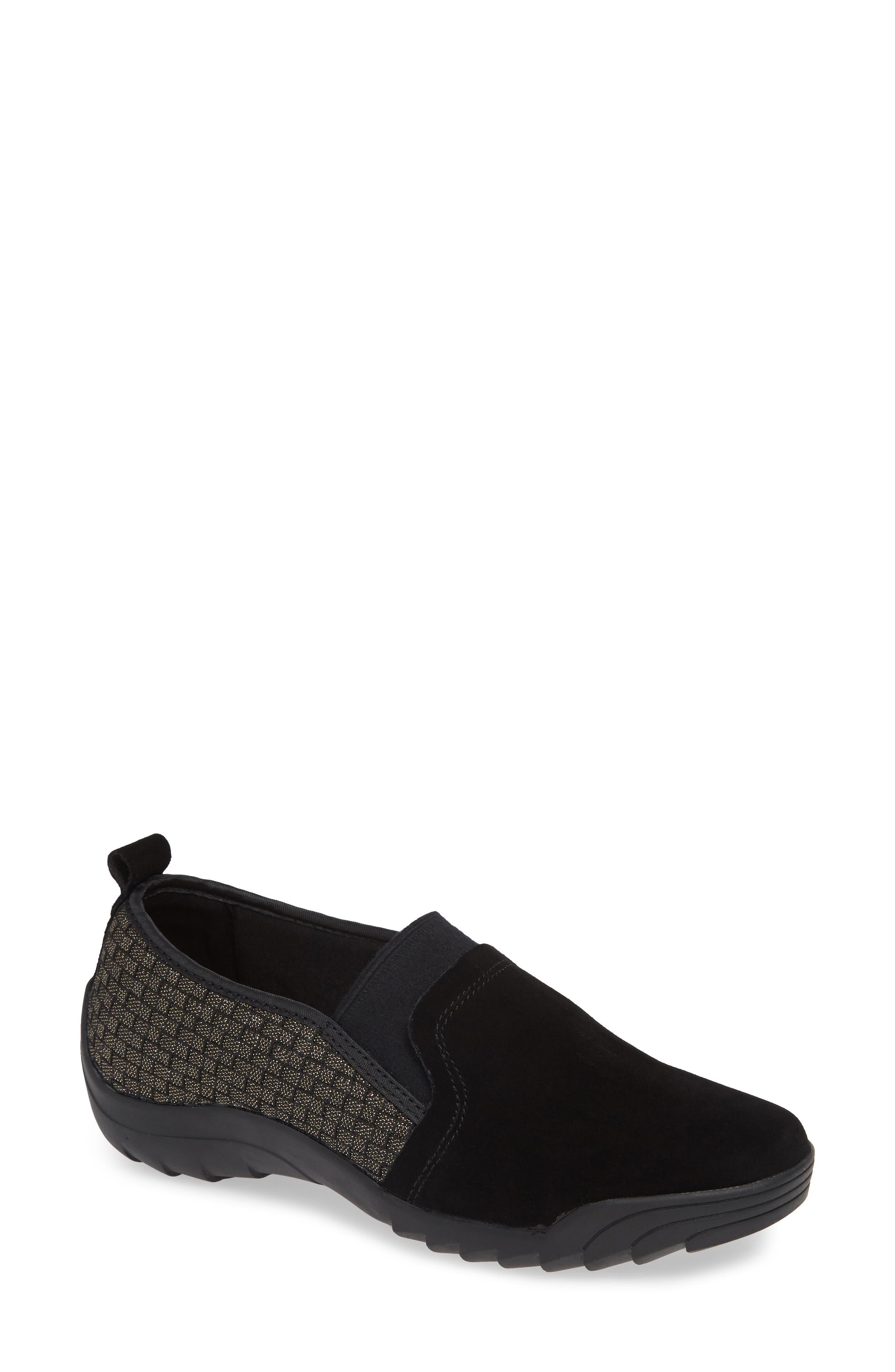 Swift Slip-On Sneaker,                             Main thumbnail 1, color,                             Gold Black Shimmer Leather