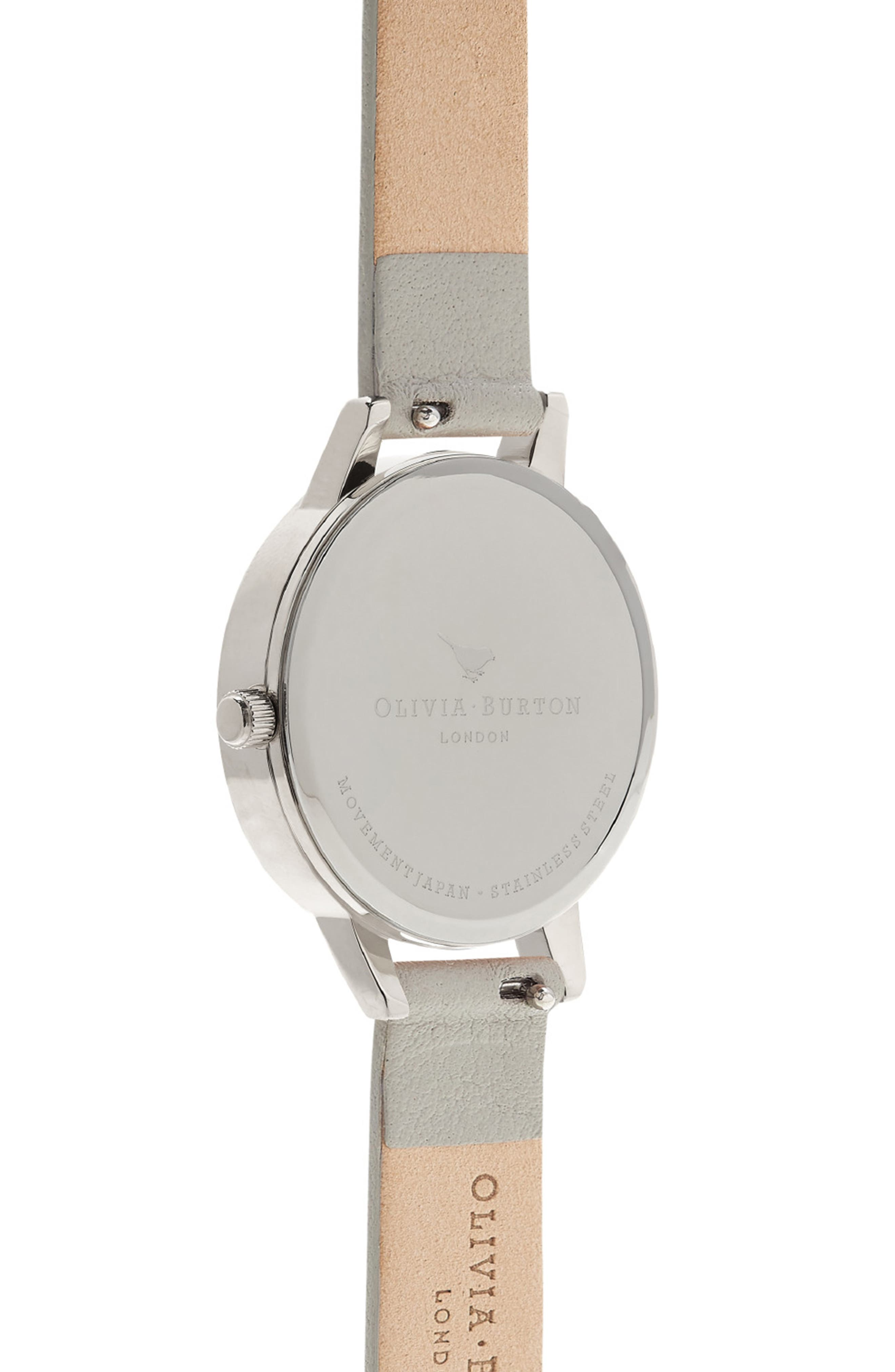 Midi Dial Leather Strap Watch, 30mm,                             Alternate thumbnail 2, color,                             Grey