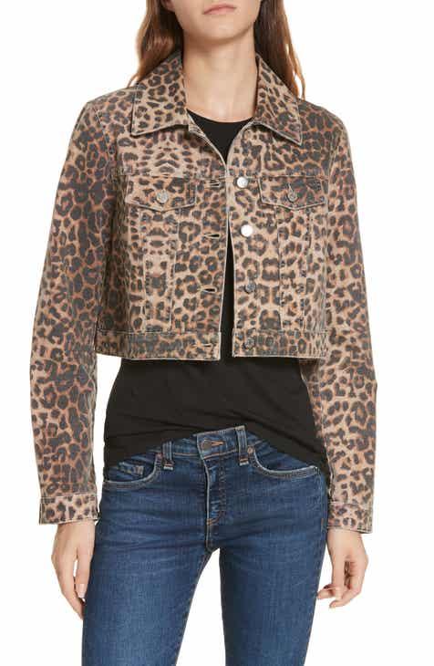 081955bba8b Veronica Beard Cara Leopard Print Crop Denim Jacket
