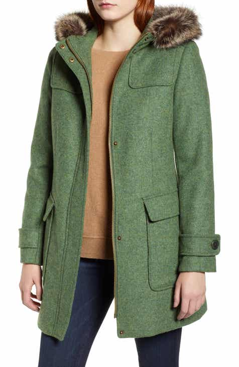 00621684b22 Pendleton Portland Wool Duffle Coat with Genuine Fur Trim