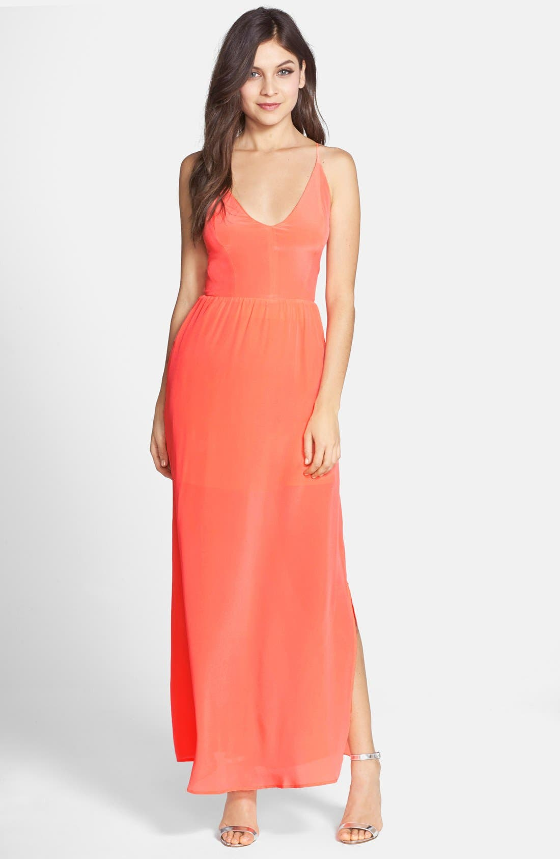 Main Image - Myne Strappy Back Silk Crepe Gown