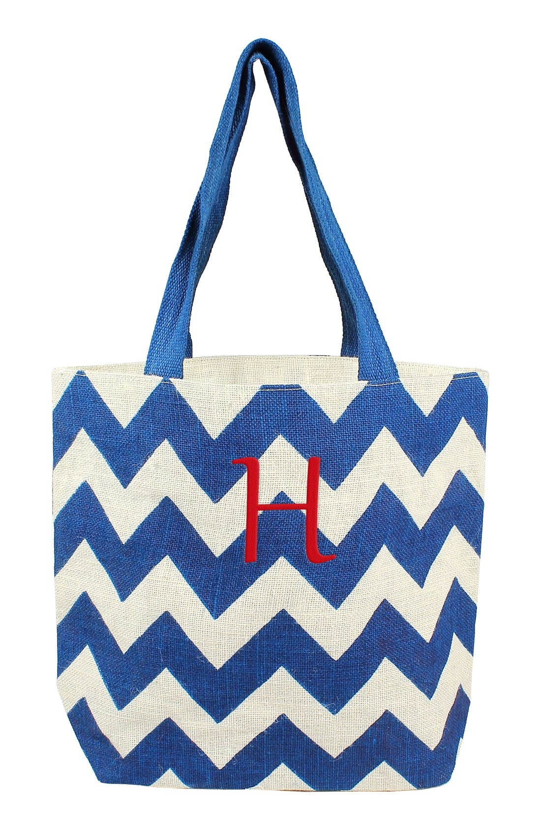 Alternate Image 1 Selected - Cathy's Concepts Monogram Chevron Print Jute Tote