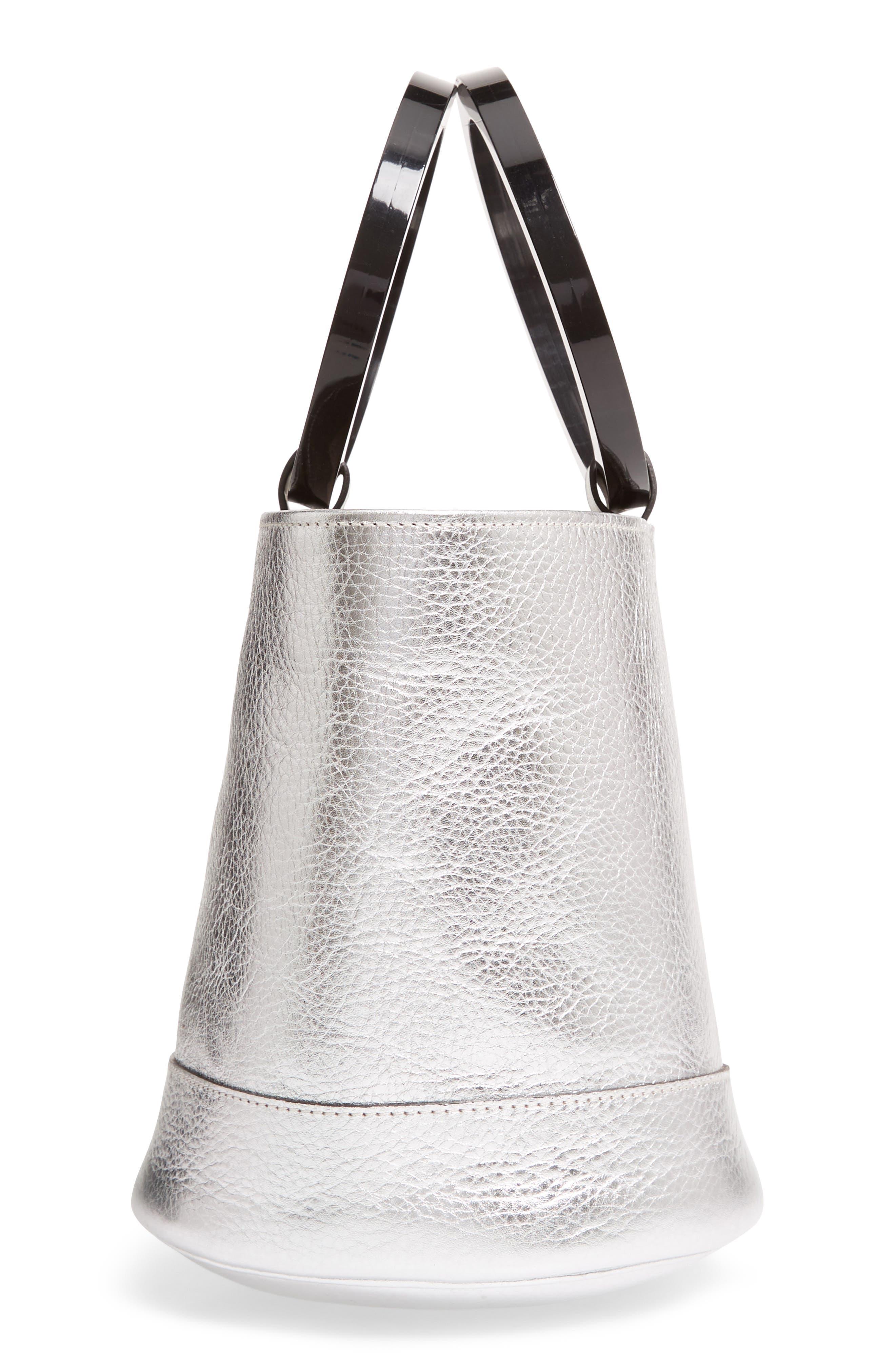 Bonsai 20 Pebbled Leather Bucket Bag,                             Alternate thumbnail 4, color,                             Silver